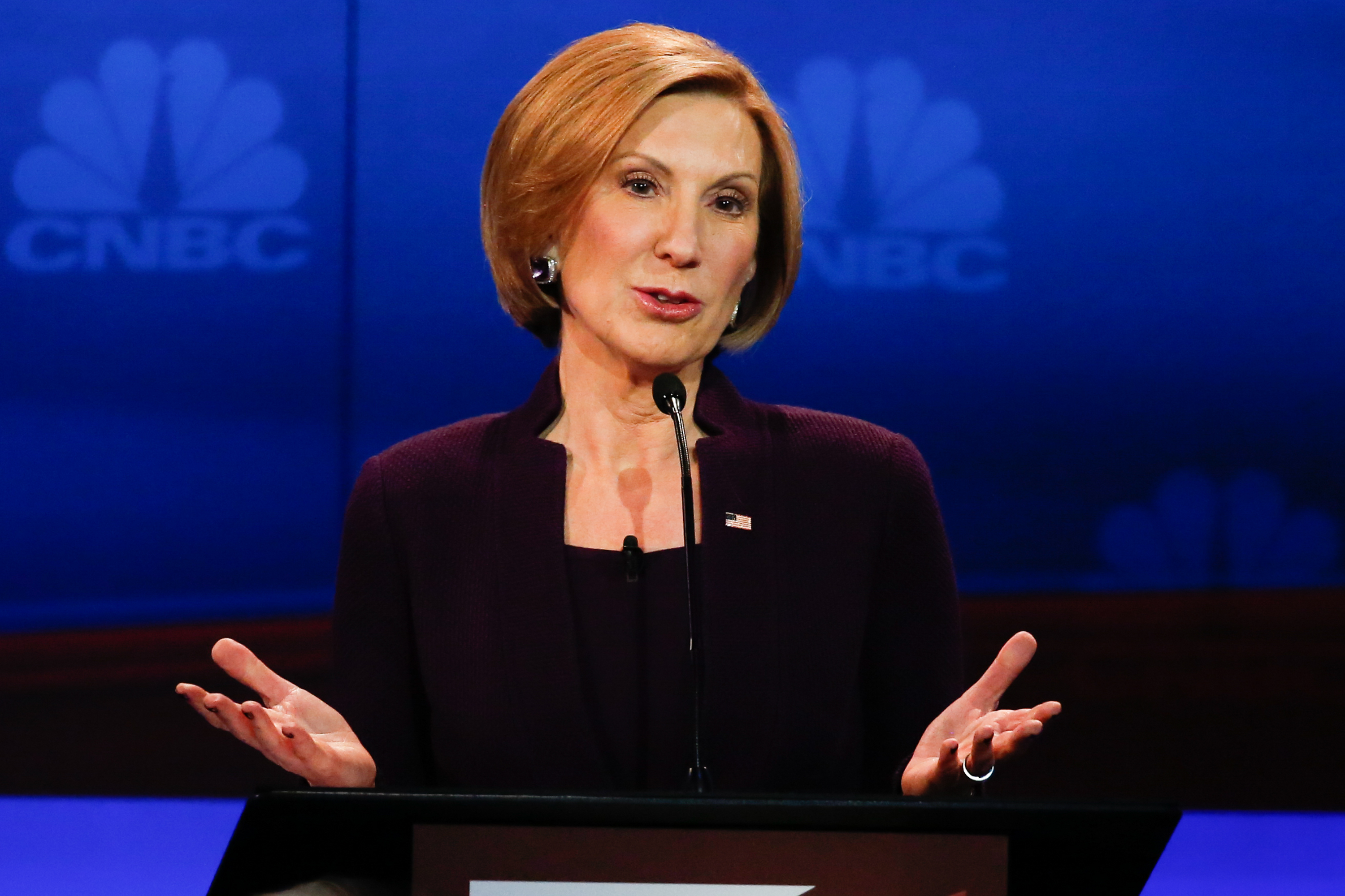 "CNBC EVENTS -- The Republican Presidential Debate: Your Money, Your Vote -- Pictured: Carly Fiorina participates in CNBC's ""Your Money, Your Vote: The Republican Presidential Debate"" live from the University of Colorado Boulder in Boulder, Colorado Wednesday, October 28th at 6PM ET / 8PM ET -- (Photo by: David A. Grogan/CNBC/NBCU Photo Bank)"