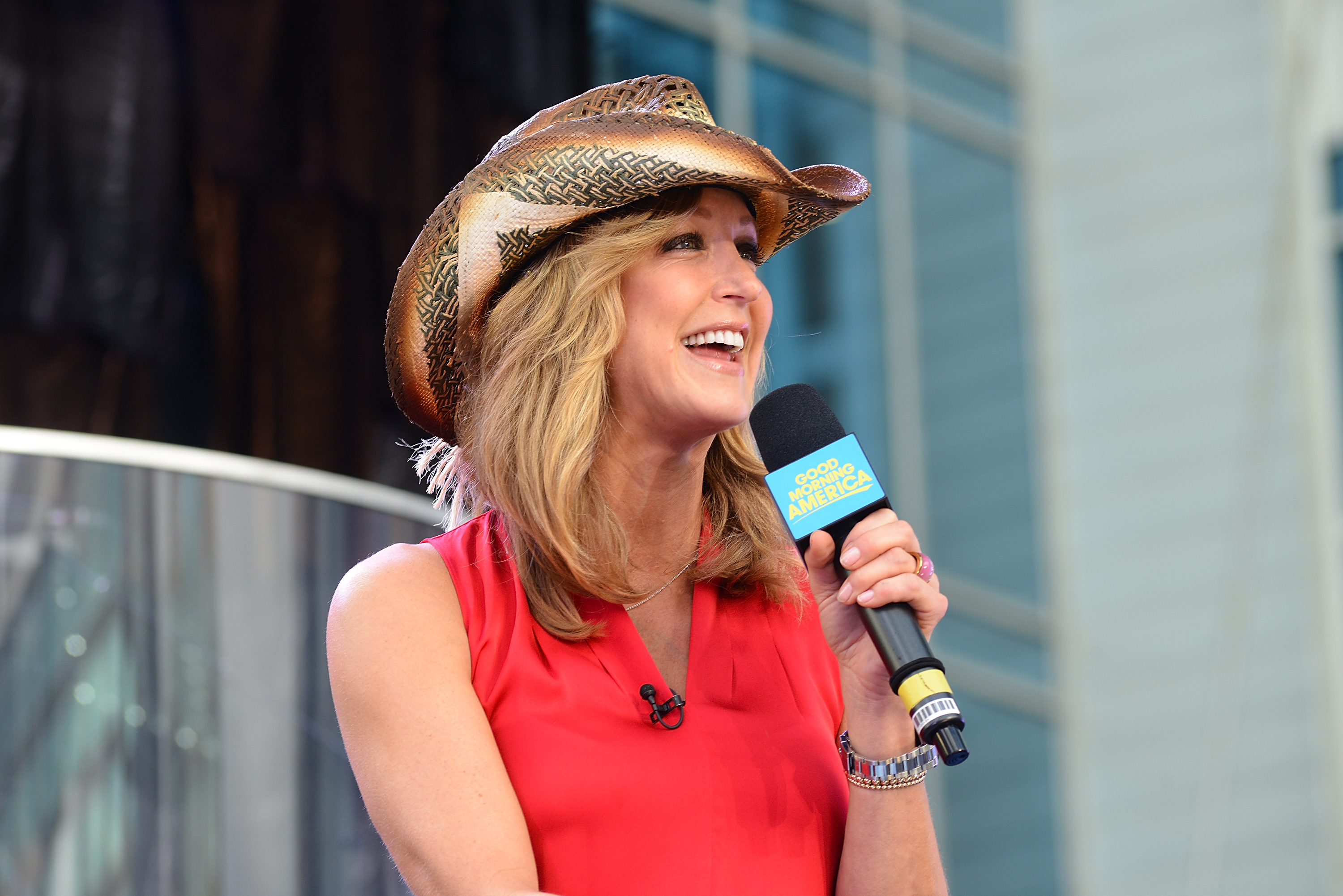 """Lara Spencer talks to the audience during filming of """"Good Morning America."""""""
