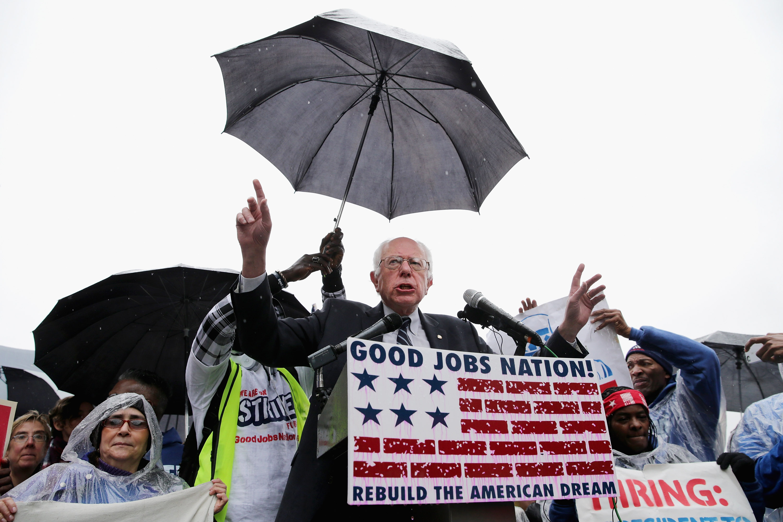 Sen. Bernie Sanders Joins Activists Demonstrating For Higher Wages For Restaurant Workers