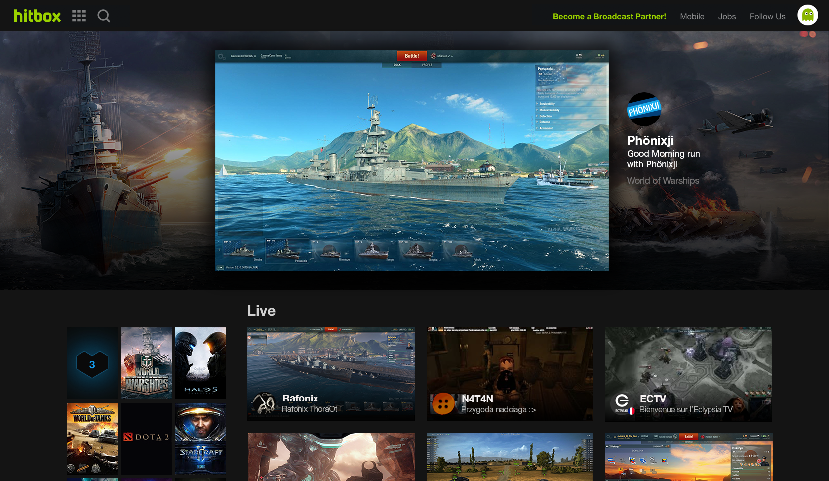 Wargaming's World of Warships on Hitbox streaming platform