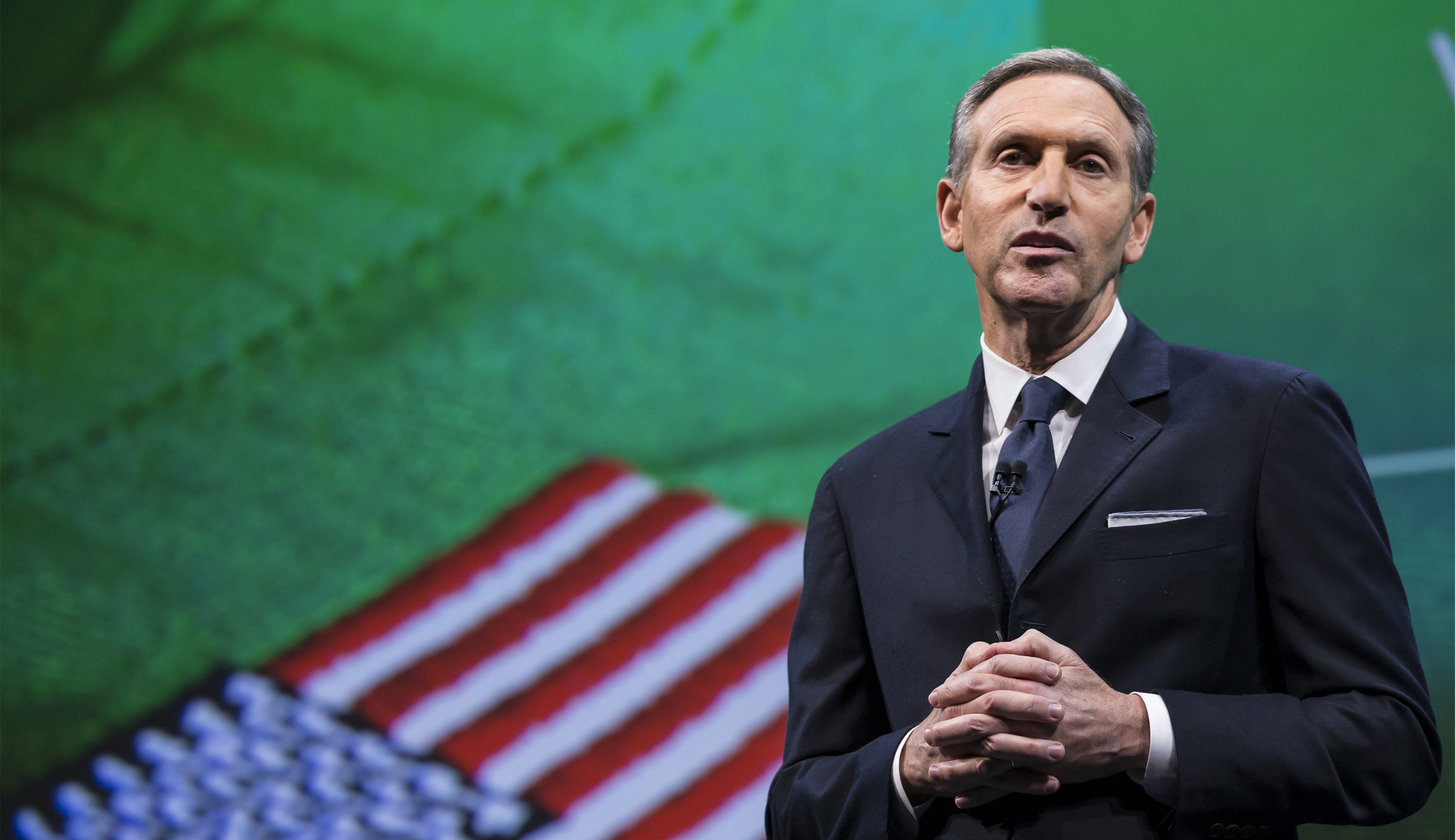 SEATTLE, WA - MARCH 18: Starbucks Chairman and CEO Howard Schultz talks about the company's goal to hire 10,000 military veteran's and military spouses during the Starbucks annual shareholders meeting March 18, 2015 in Seattle, Washington. Schultz also announced a 2-for-1 stock split, the sixth in the company's history, during the meeting. (Stephen Brashear/Getty Images)