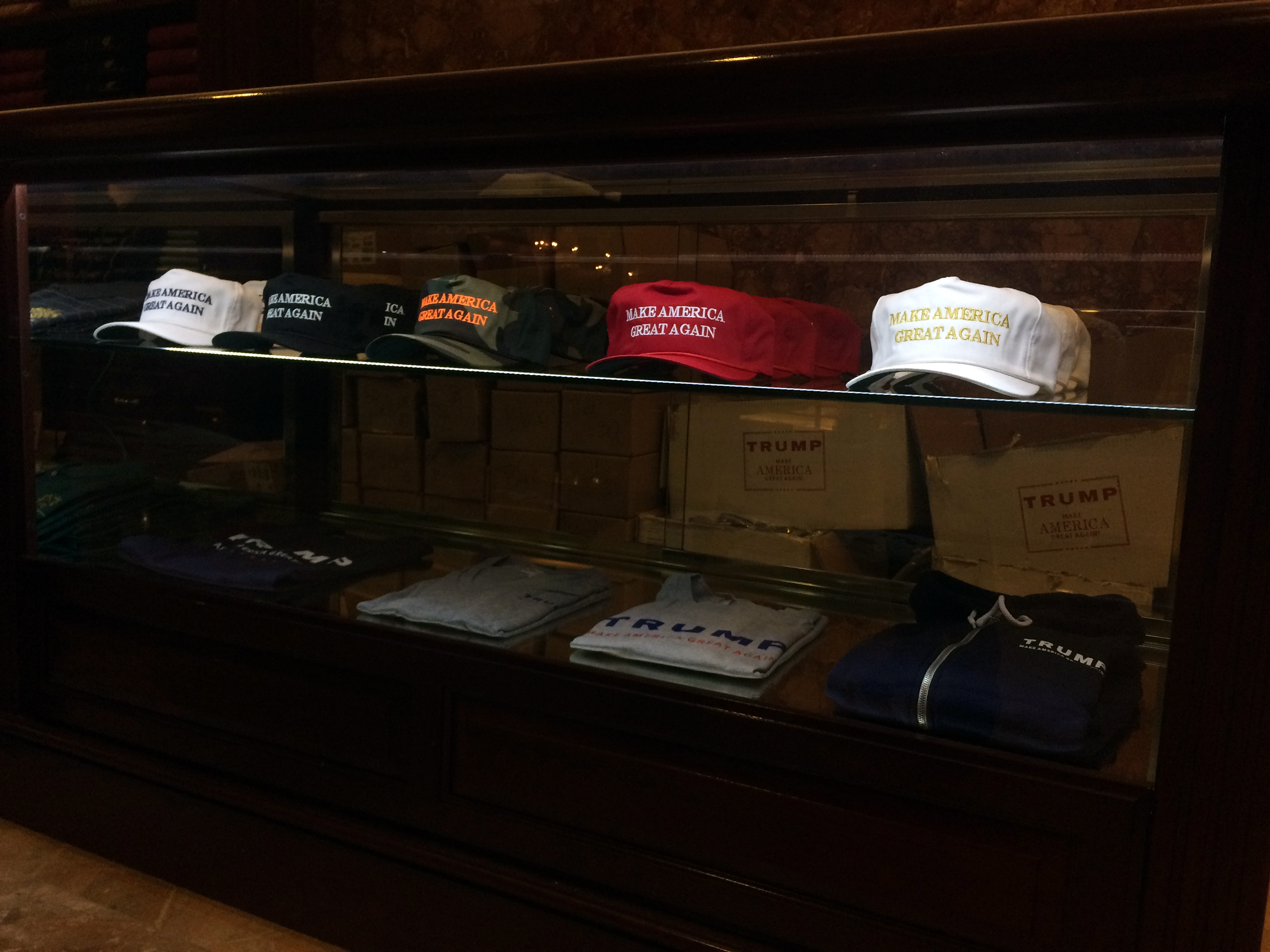 """Make America Great Again"" hats for sale at Trump's book signing at the Trump Tower on November 3, 2015 in New York."