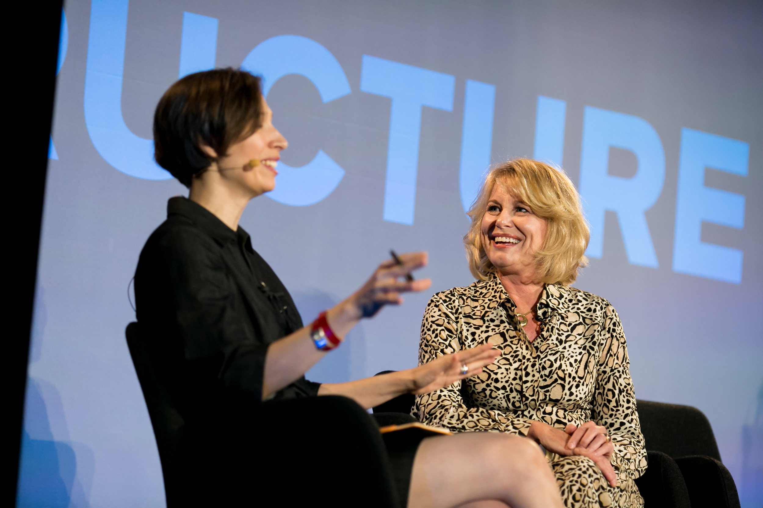 Fortune's Stacey Higginbotham (left) and Intel's Diane Bryant (right) onstage at the Structure 2015 event in San Francisco.