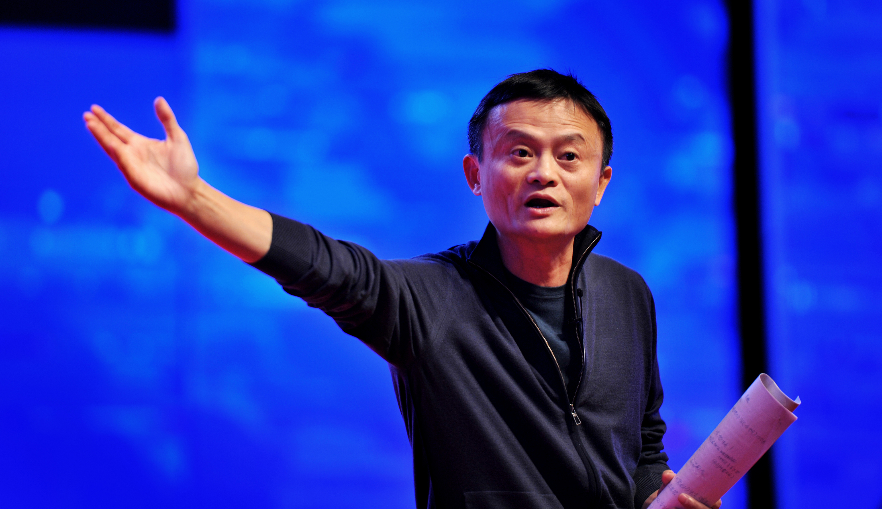 HANGZHOU, CHINA - OCTOBER 25: (CHINA OUT) Jack Ma, founder and chairman of Alibaba Group, president of the General Association of Zhejiang Entrepreneurs, makes a speech on the Zhejiang Entrepreneurs Association on October 25, 2015 in Hangzhou, Zhejiang Province of China. (Photo by ChinaFotoPress/ChinaFotoPress via Getty Images)