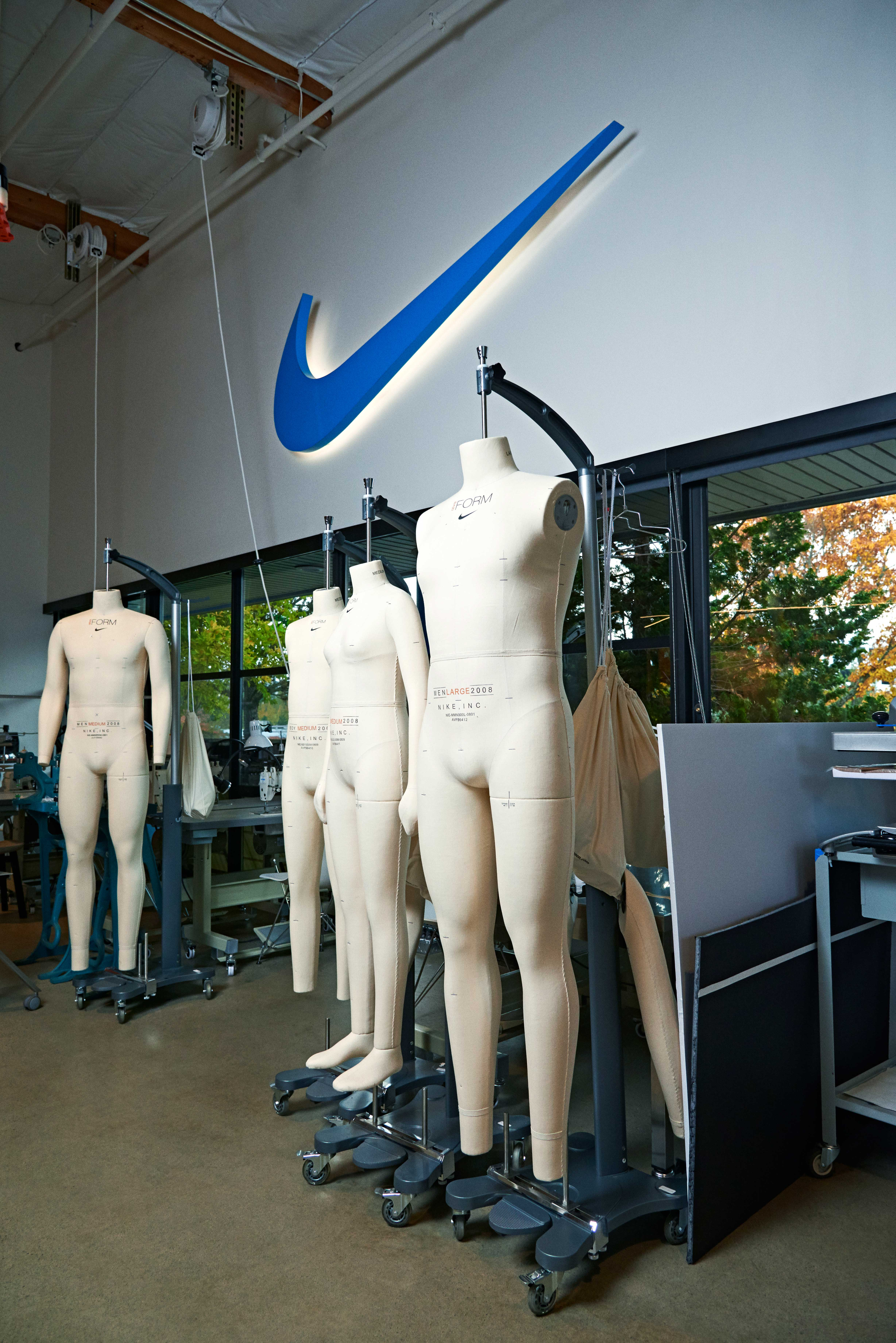 Mannequins inside Nike's sewing studio await designers' latest apparel ideas.