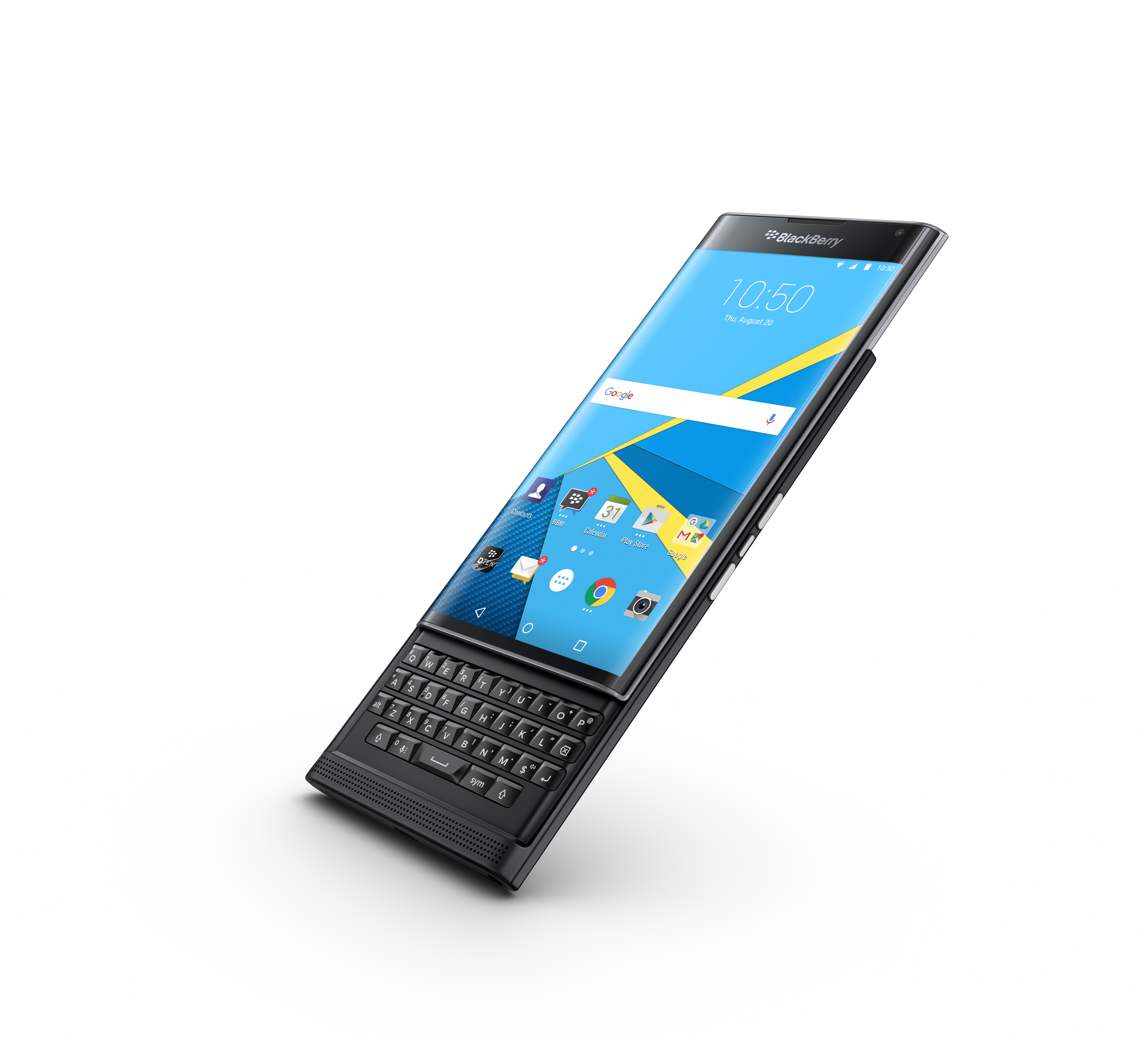 The BlackBerry Priv runs Android, Google's operating system.