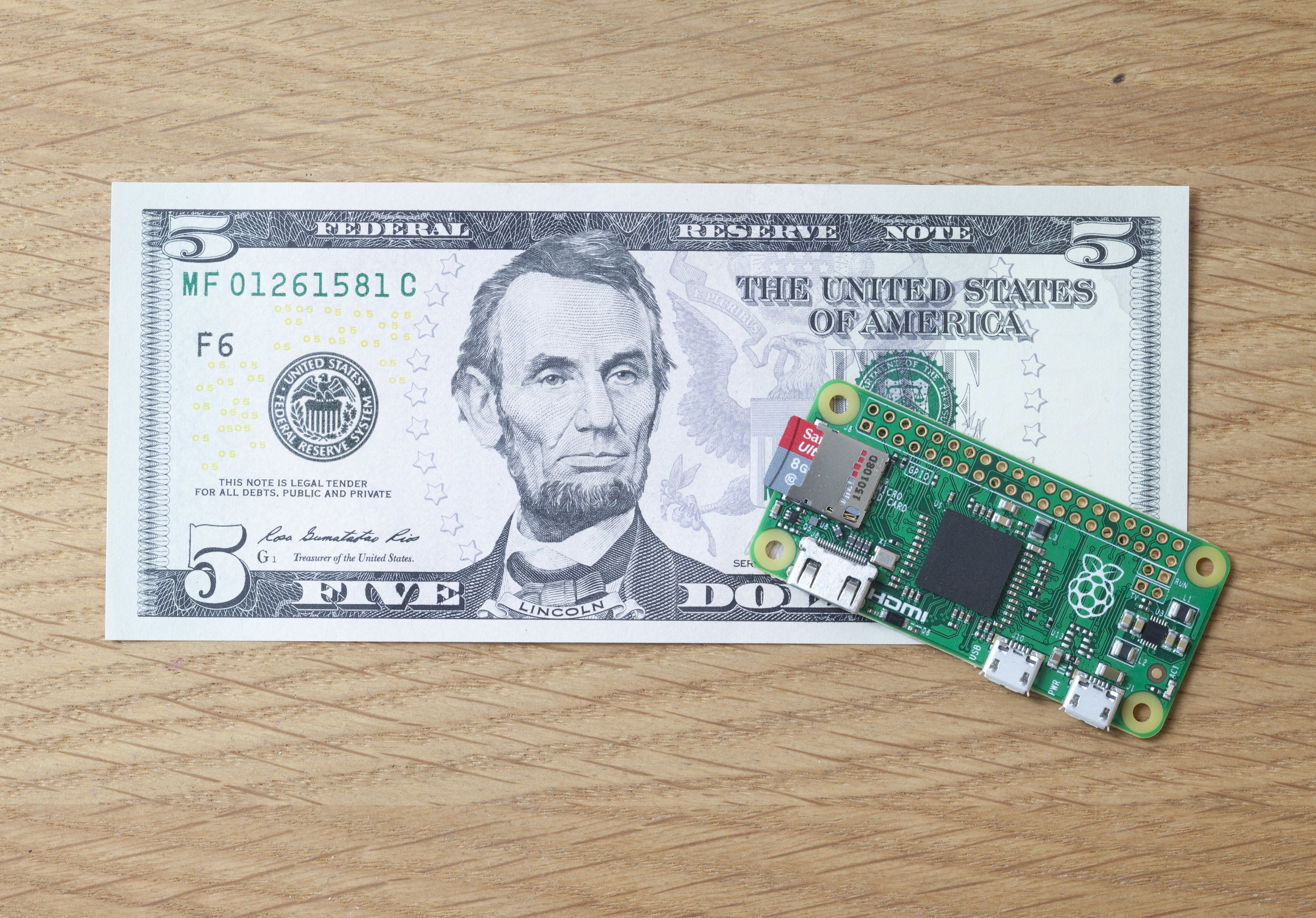 The Raspberry Pi Zero.