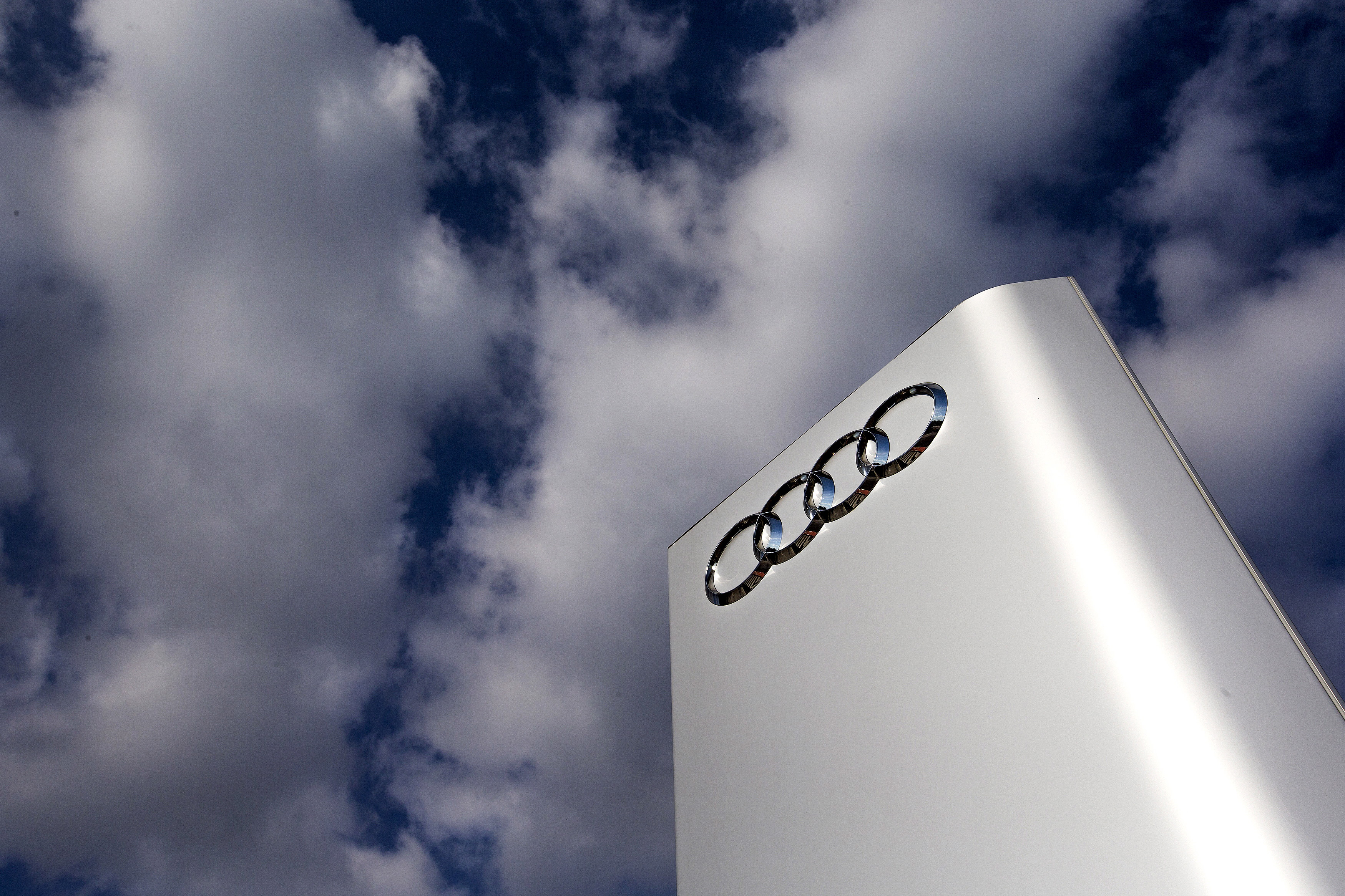 The Audi logo is seen at the entrance of the Audi powerplant in Brussels