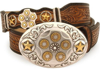 Leegin's Texas Star Bullet Buckle Leather Belt