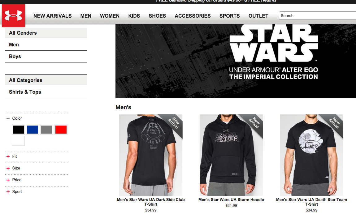 Under Armou's Star Wars line