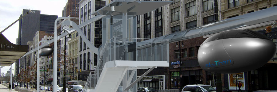 Artist's rendering of a skyTran stop. Note the spur that drops a single pod off the main line toward the stop.