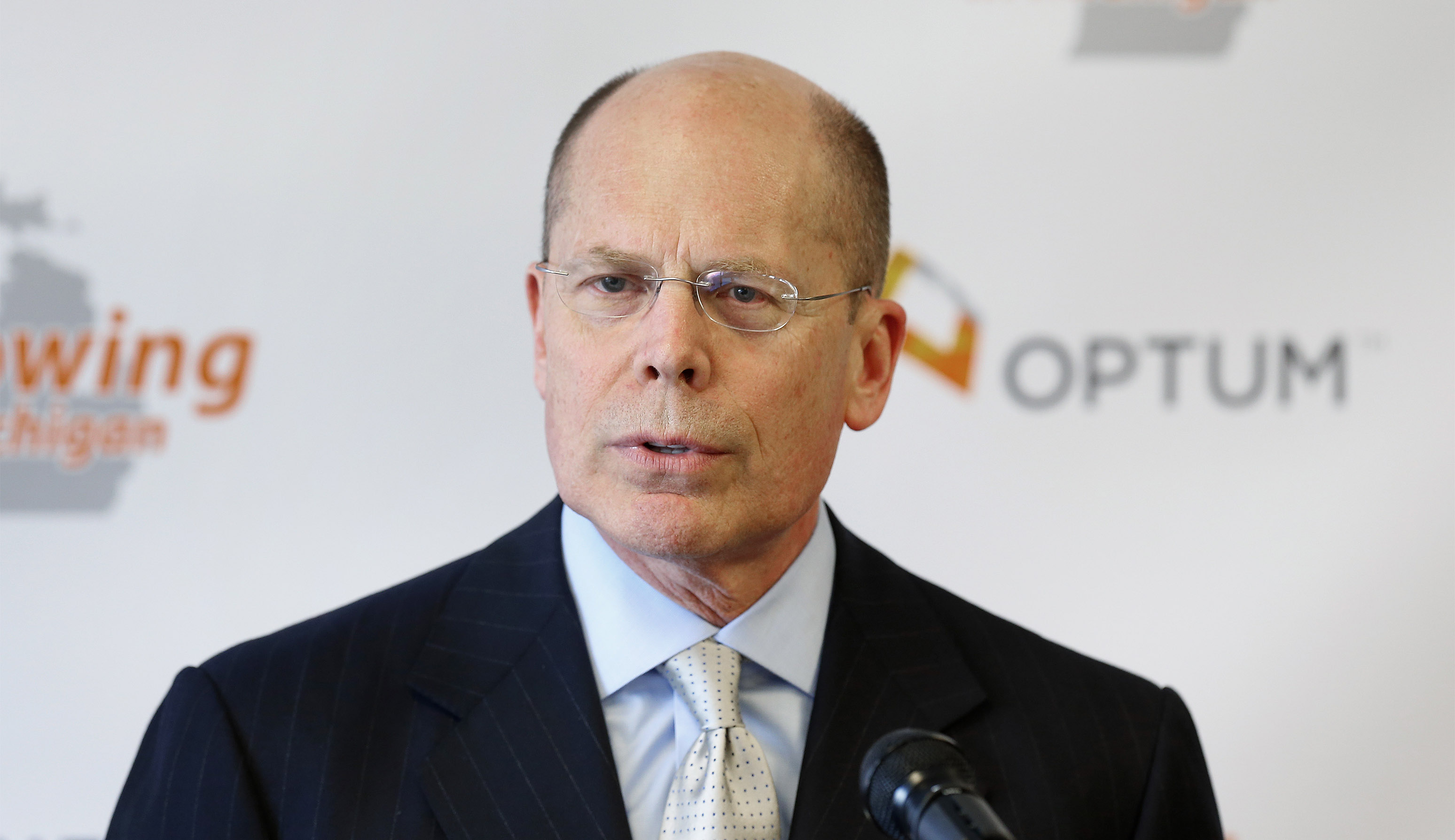 Stephen Hemsley, president and CEO of Minnesota-based UnitedHealth Group, announces 75 jobs are being created within the company's subsidiary, Optum, which works in health care services and technology support, in Southfield, Mich., Tuesday, April 29, 2014. (AP Photo)