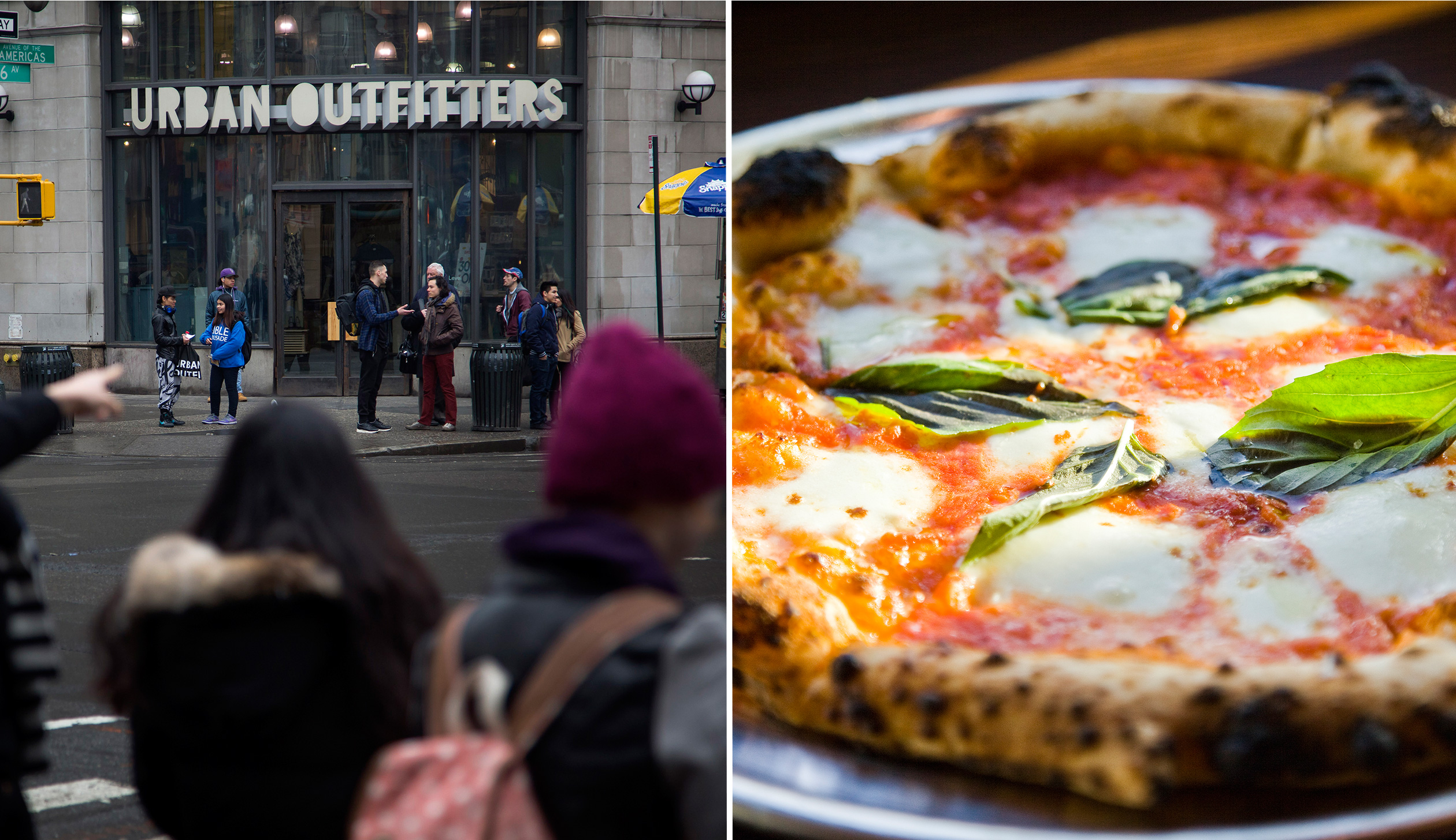 Pedestrians walk past an Urban Outfitters in New York, left and pizza from Pizzeria Vetri in Philadelphia.