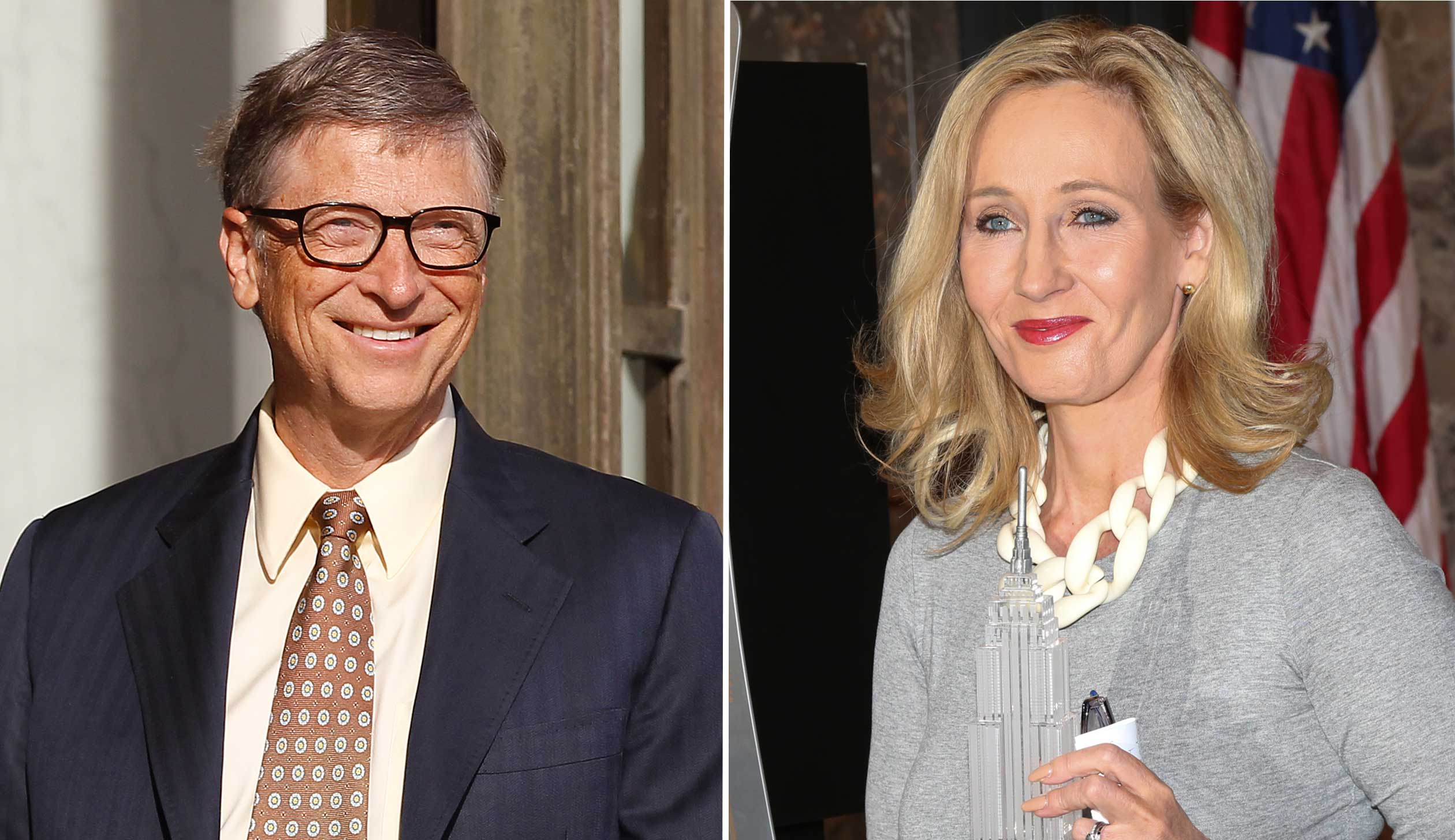 Bill Gates, left, and J.K. Rowling