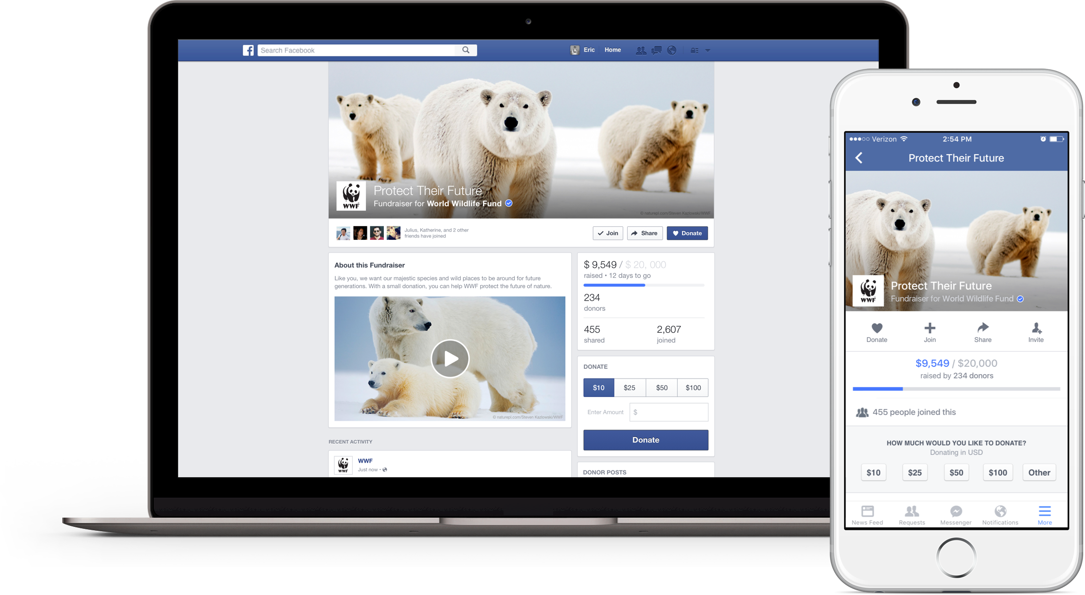 Facebook's new tools for non-profits include a donate button and fundraiser pages