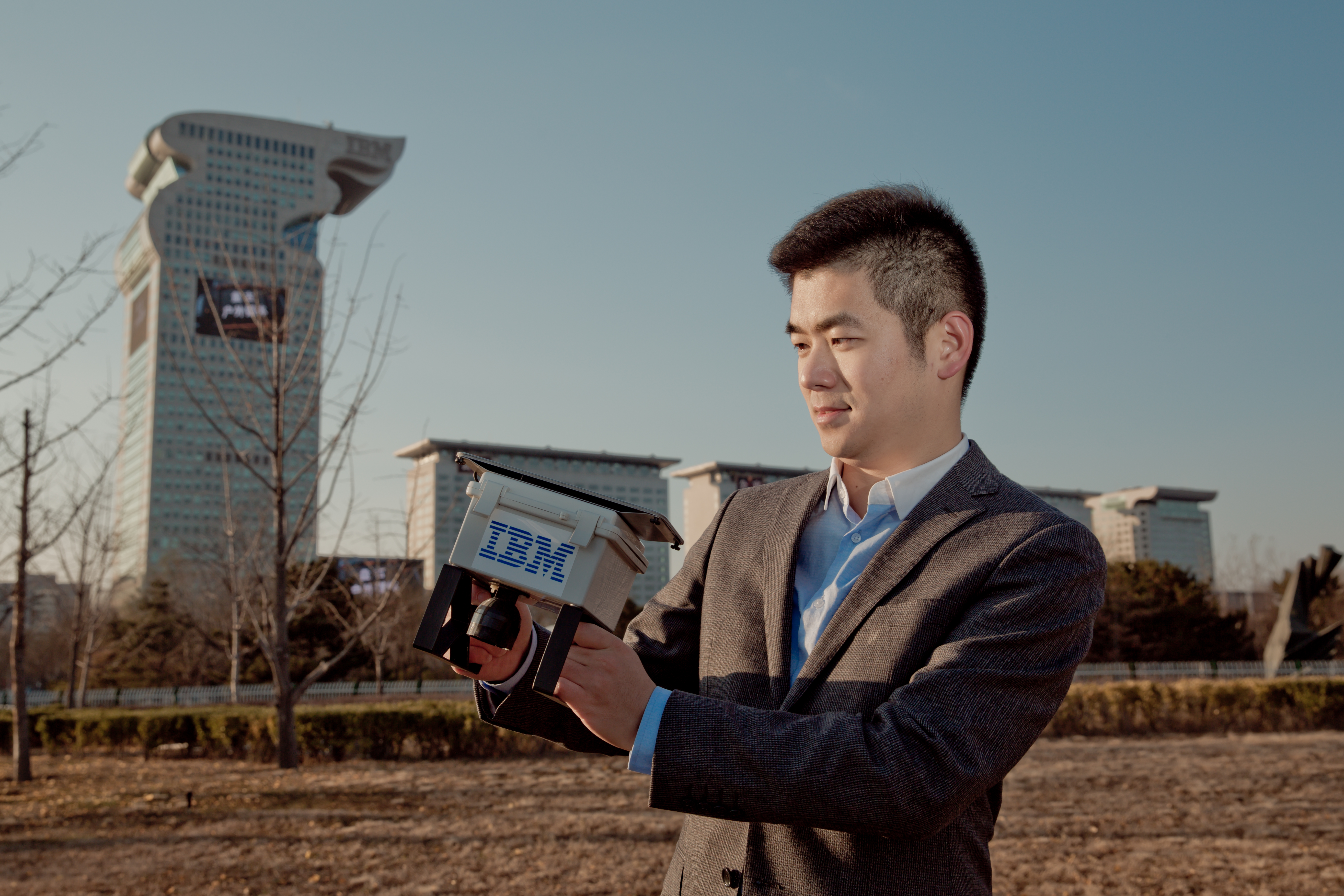 Chinese scientist with pollution sensor