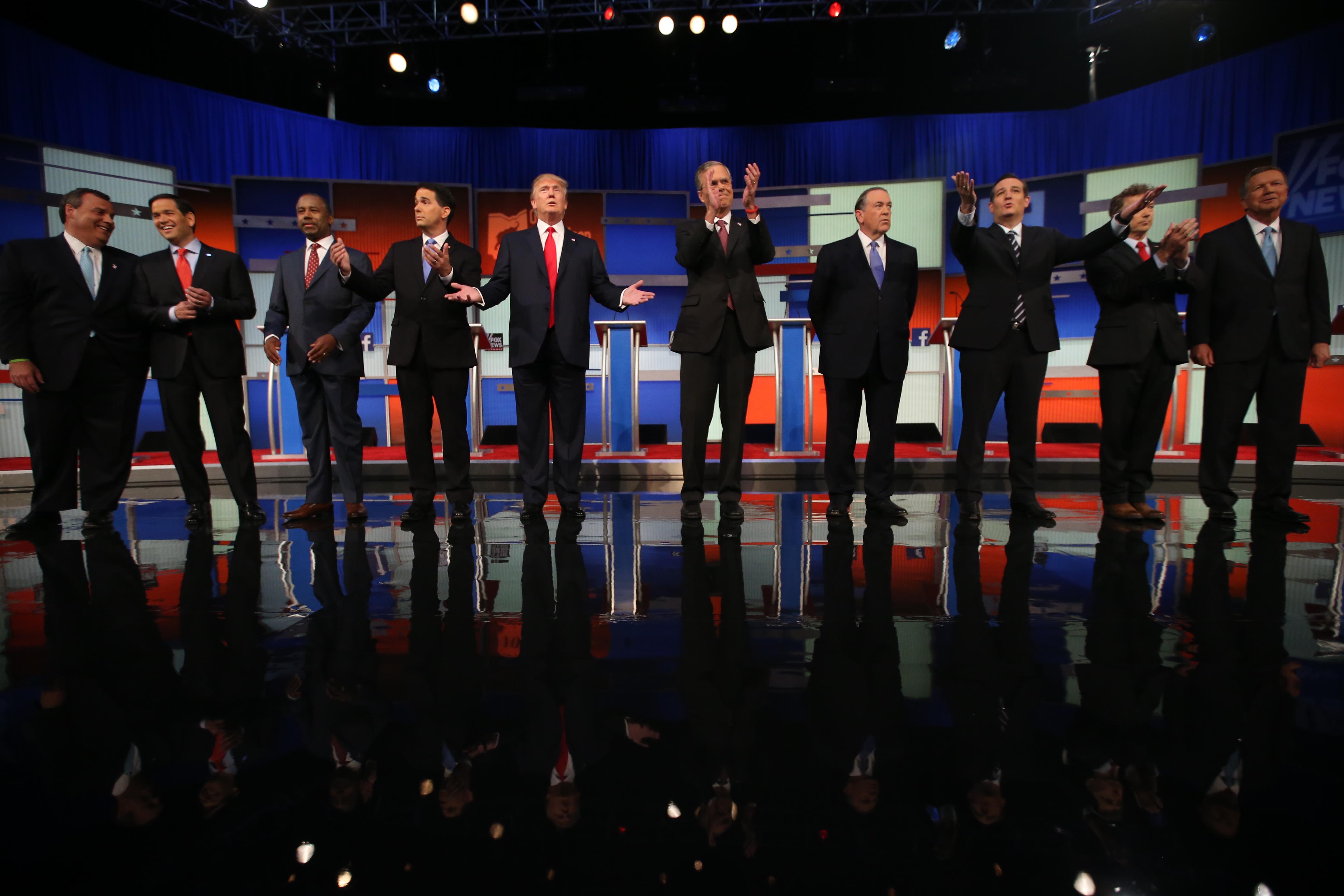 Chris Christie, Marco Rubio, Ben Carson, Scott Walker, Donald Trump, Jeb Bush, Mike Huckabee, Ted Cruz, Rand Paul, John Kasich