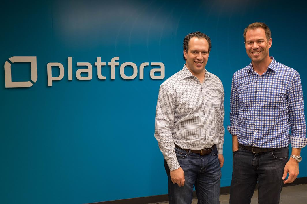 Ben Werther, Platfora founder and executive chairman, stands with CEO Jason Zintak