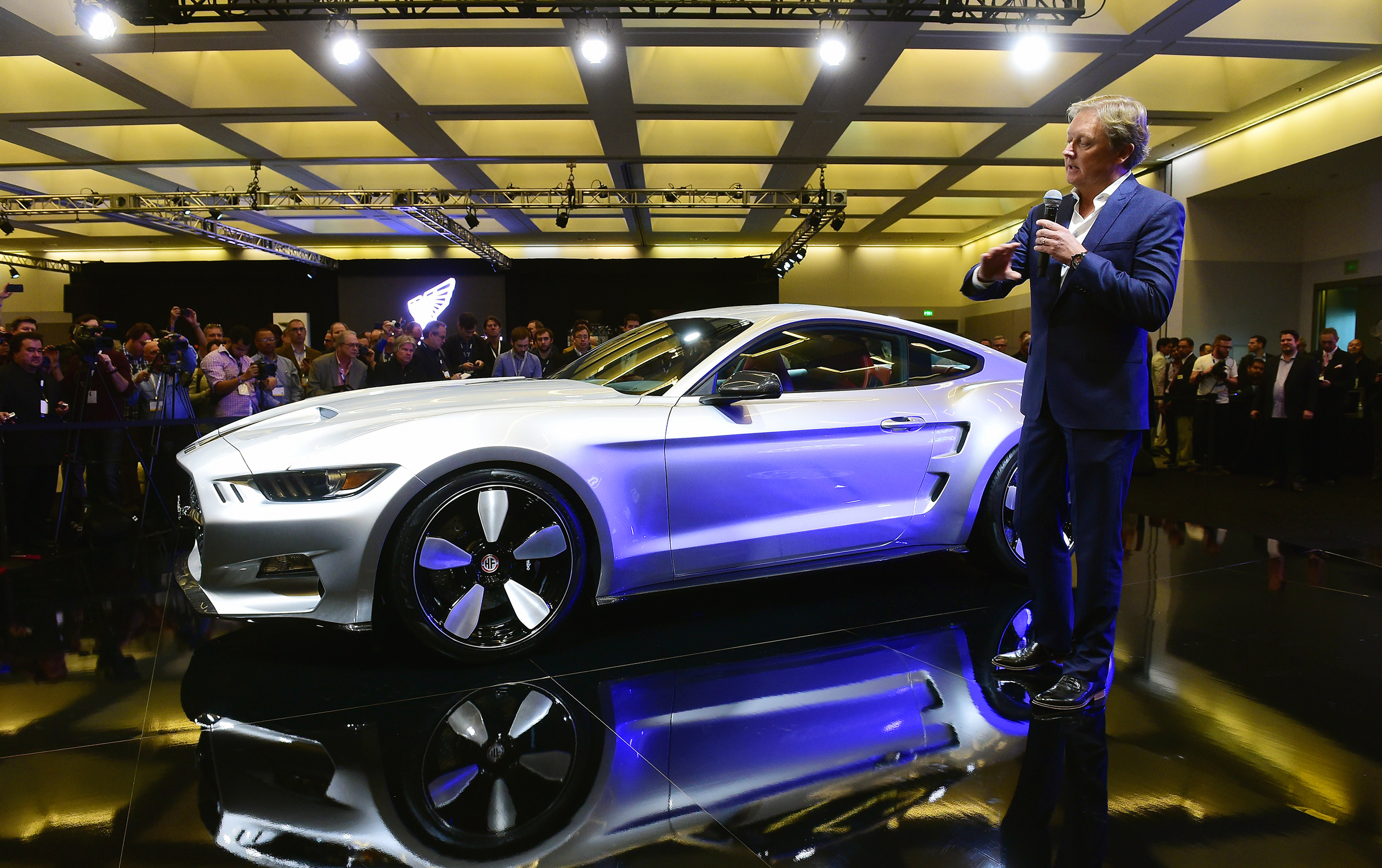 Automobile designer Henrik Fisker speaks at the unveiling of his latest design, the 2015 Galpin Rocket, at the LA Auto Show's press and trade day in Los Angeles November 20, 2014. The LA Auto Show opens to the public on November 21 will run until November 30. AFP PHOTO/Frederic J. BROWN (Photo credit should read FREDERIC J. BROWN/AFP/Getty Images)