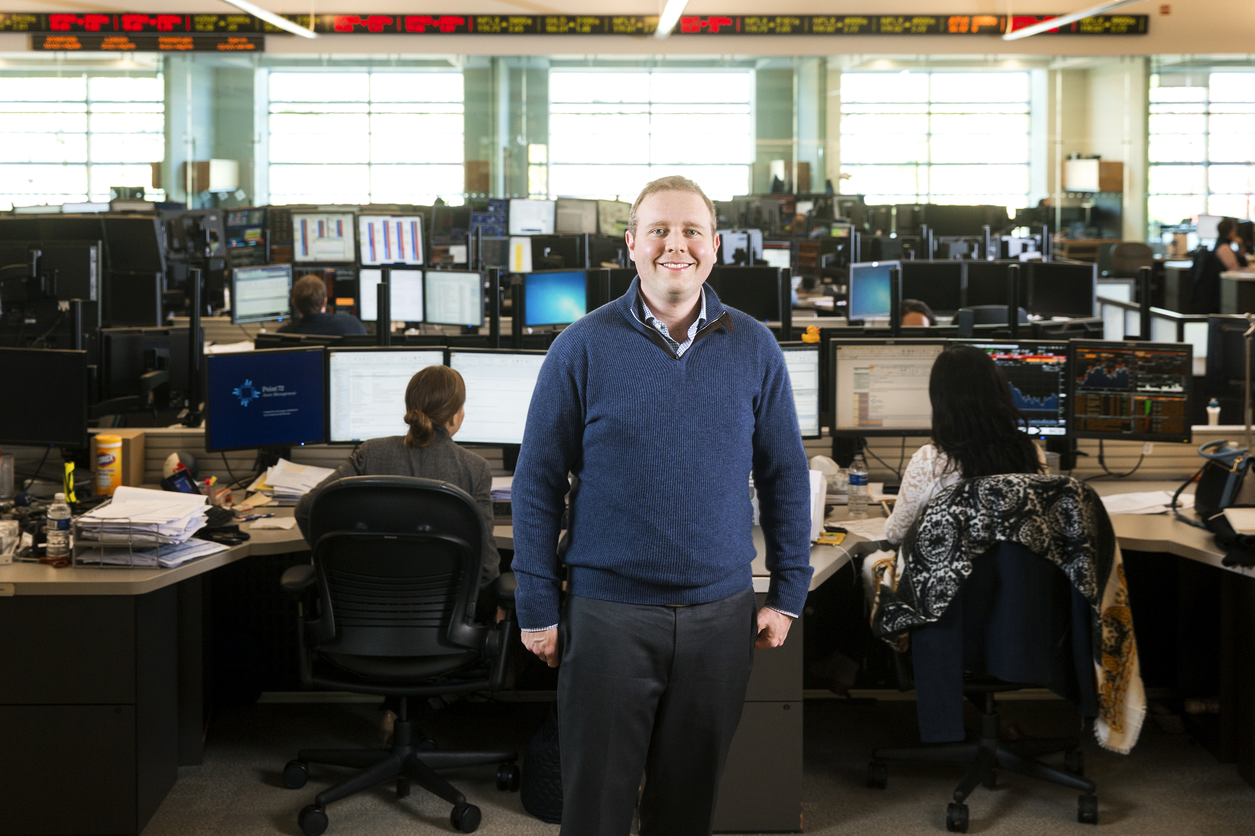Stanford, NJ. Nov 15th 2015. Matt is the analytical analyzer for Point72 Asset Management photographed on the trading floor and outside, for Fortune Magazine by Christopher Lane for Fortune