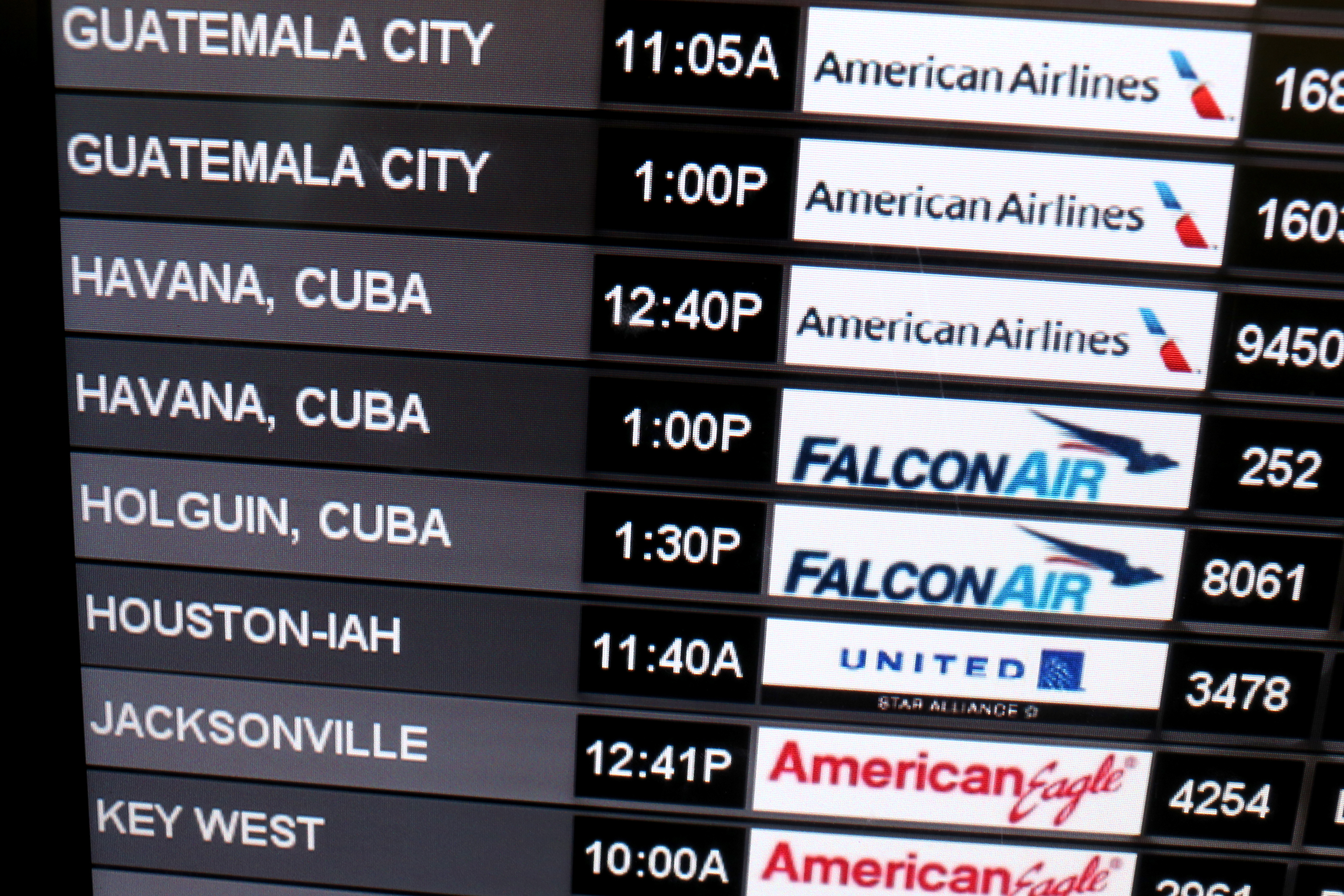 Departure times for flights to Cuba at Miami International Airport