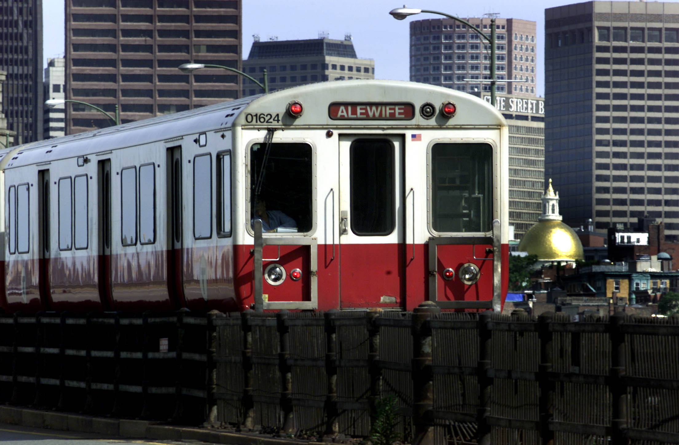 MBTA Red Line Train On Longfellow Bridge