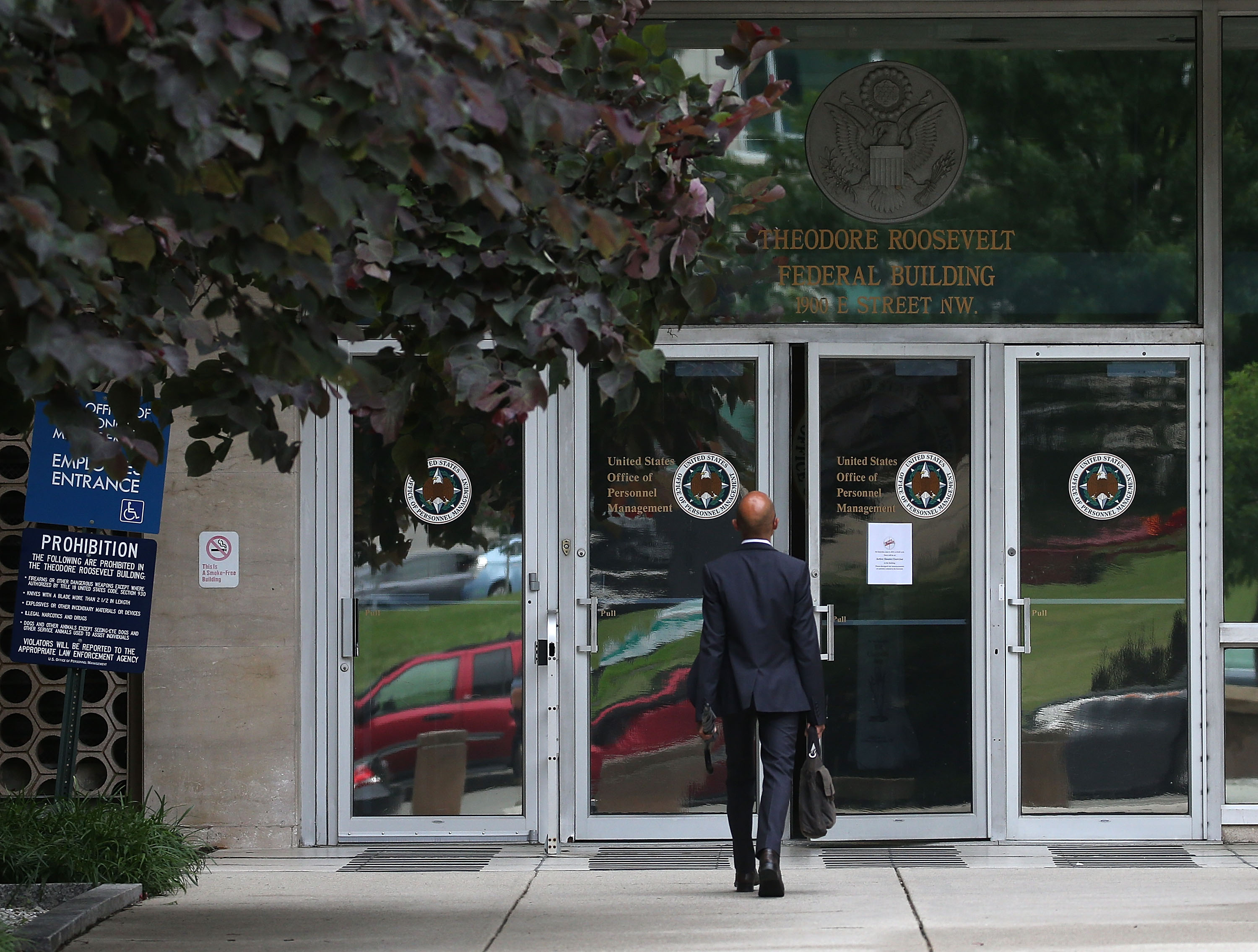 The entrance to the Theodore Roosevelt Federal Building that houses the Office of Personnel Management headquarters in Washington, D.C.