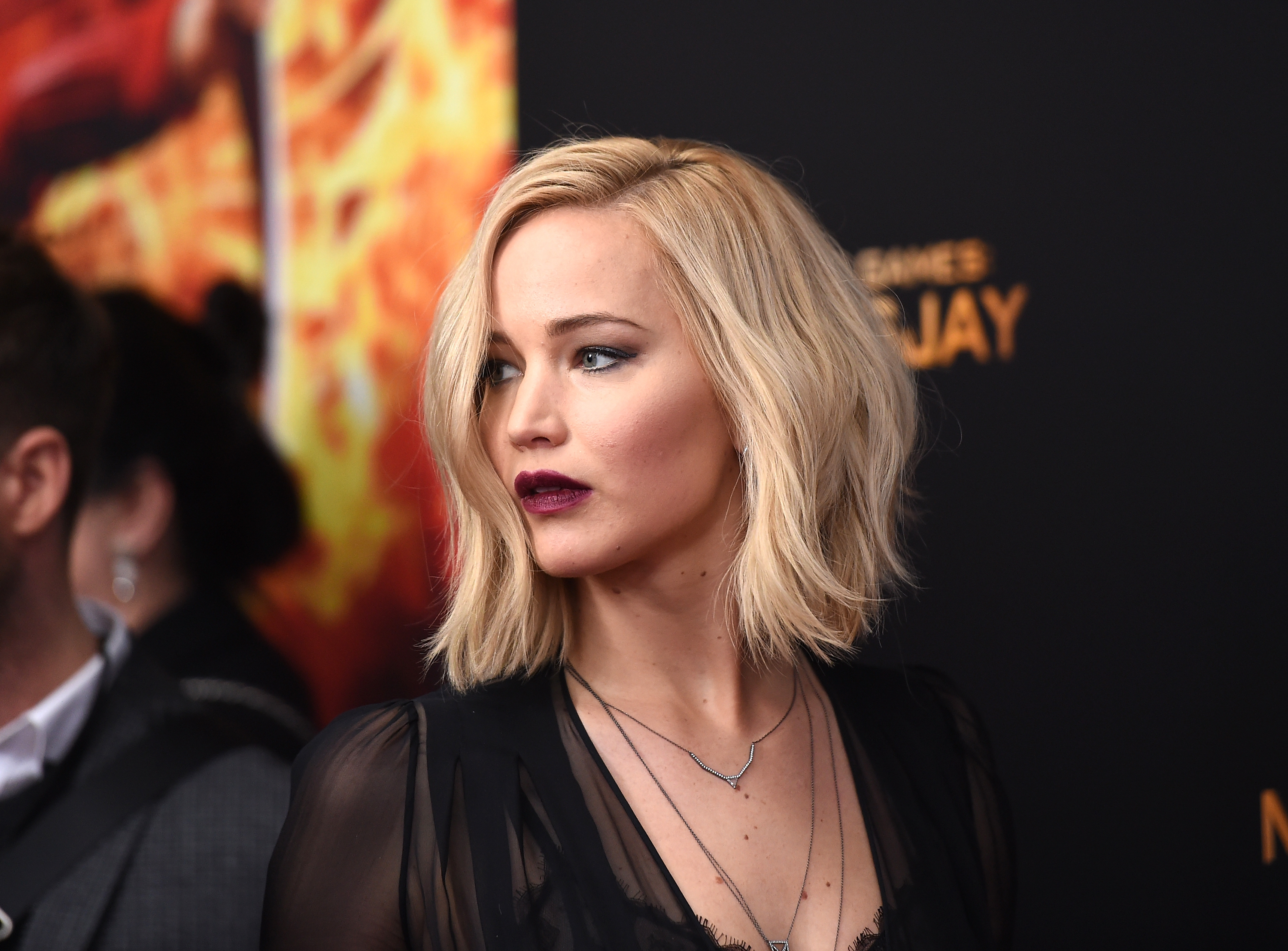 "NEW YORK, NY - NOVEMBER 18: Jennifer Lawrence attends ""The Hunger Games: Mockingjay- Part 2"" New York Premiere at AMC Loews Lincoln Square 13 theater on November 18, 2015 in New York City. (Photo by Jamie McCarthy/Getty Images) *** Local Caption *** Jennifer Lawrence"