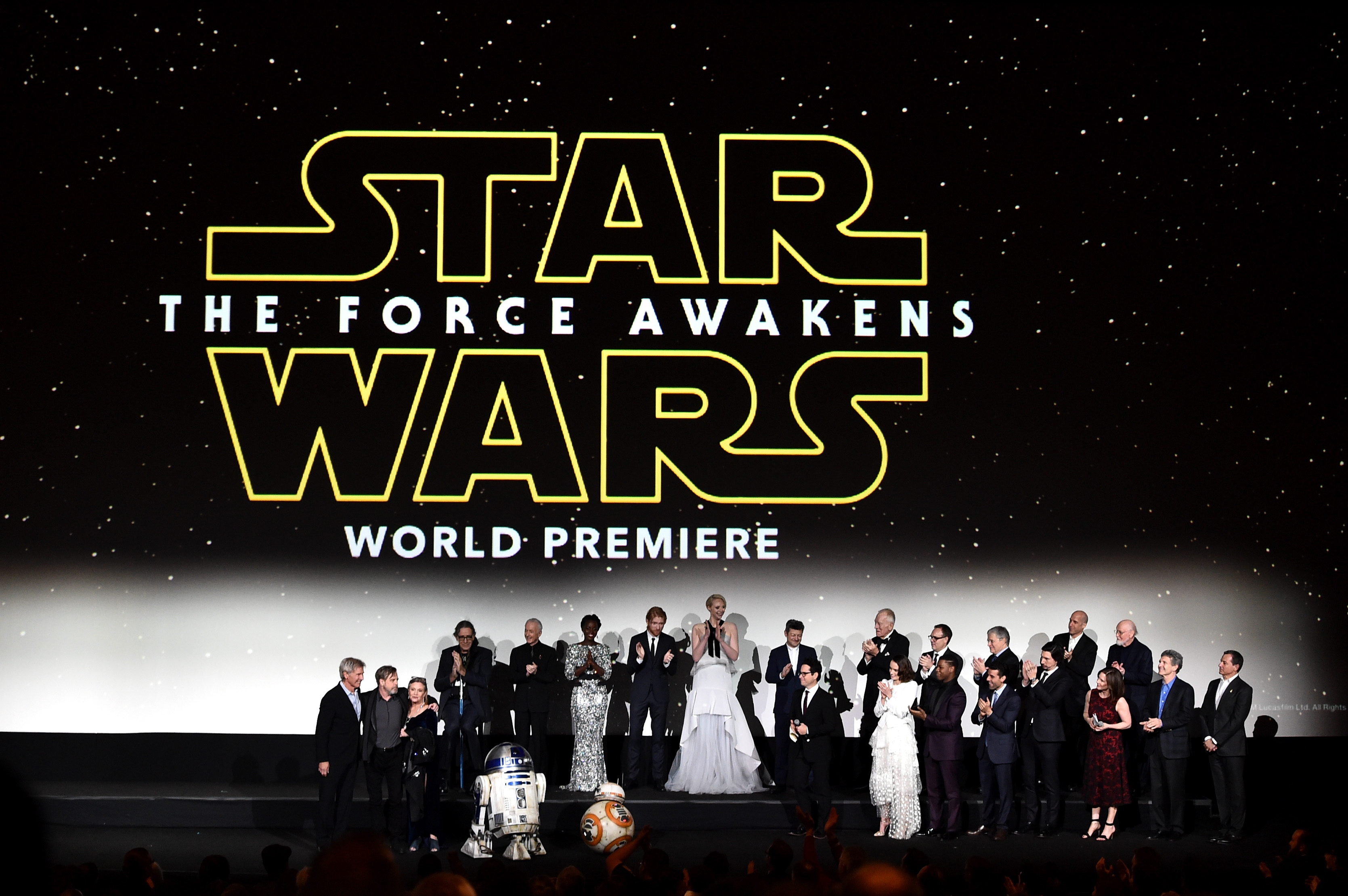 "Cast attends the World Premiere of ""Star Wars: The Force Awakens"" at the Dolby, El Capitan, and TCL Theatres on December 14, 2015 in Hollywood, California."