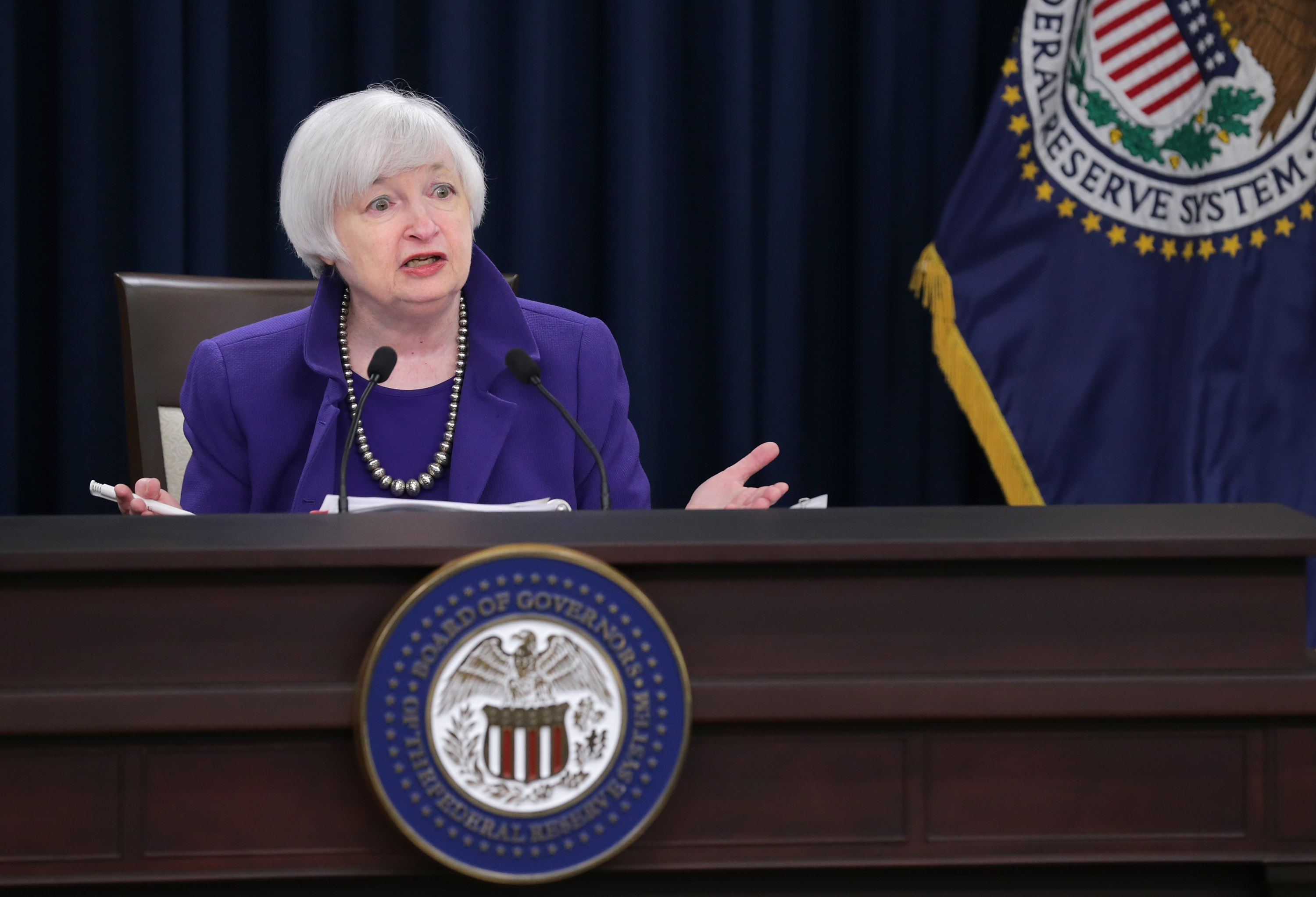 Janet Yellen Holds Press Conf. After Federal Reserve Meeting On Interest Rates