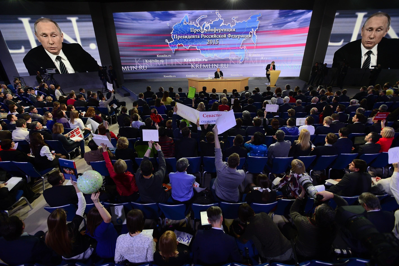 Russian President Vladimir Putin holds press conference