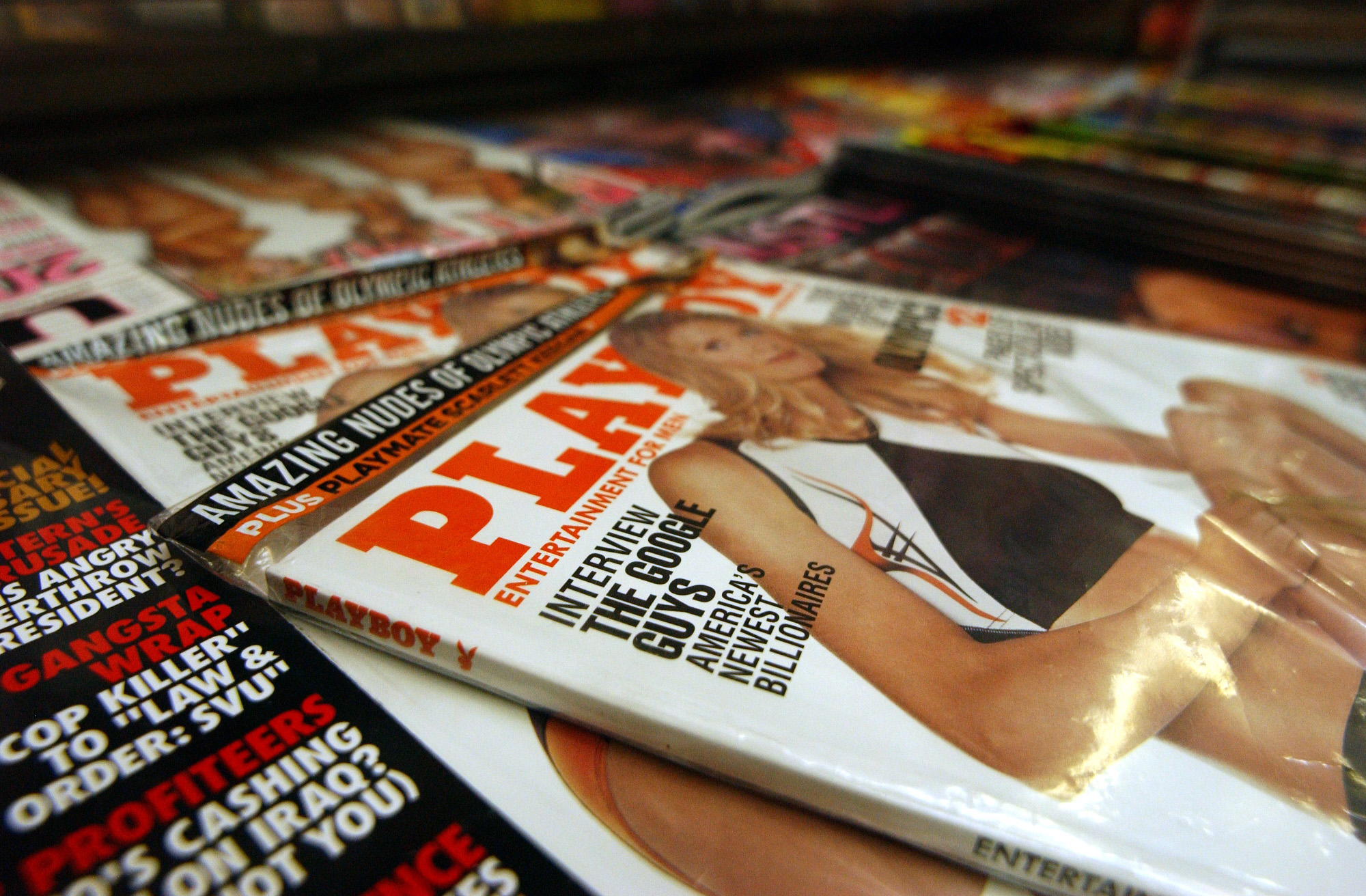Playboy magazine featuring an article on Google is seen at a