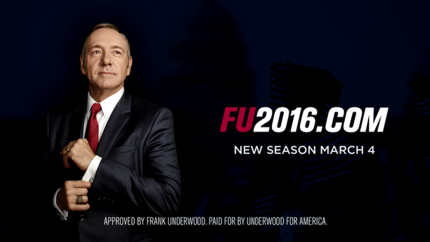 A screen from Netflix's promo for the 4th season of 'House of Cards.'