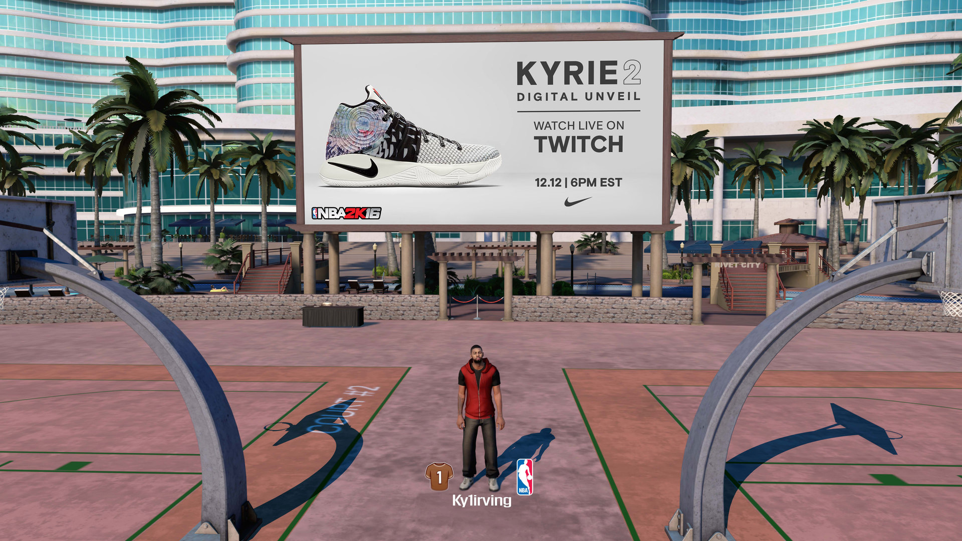 Kyrie Irving used his custom MyPark in NBA 2K16 to debut his new Nike sneakers.