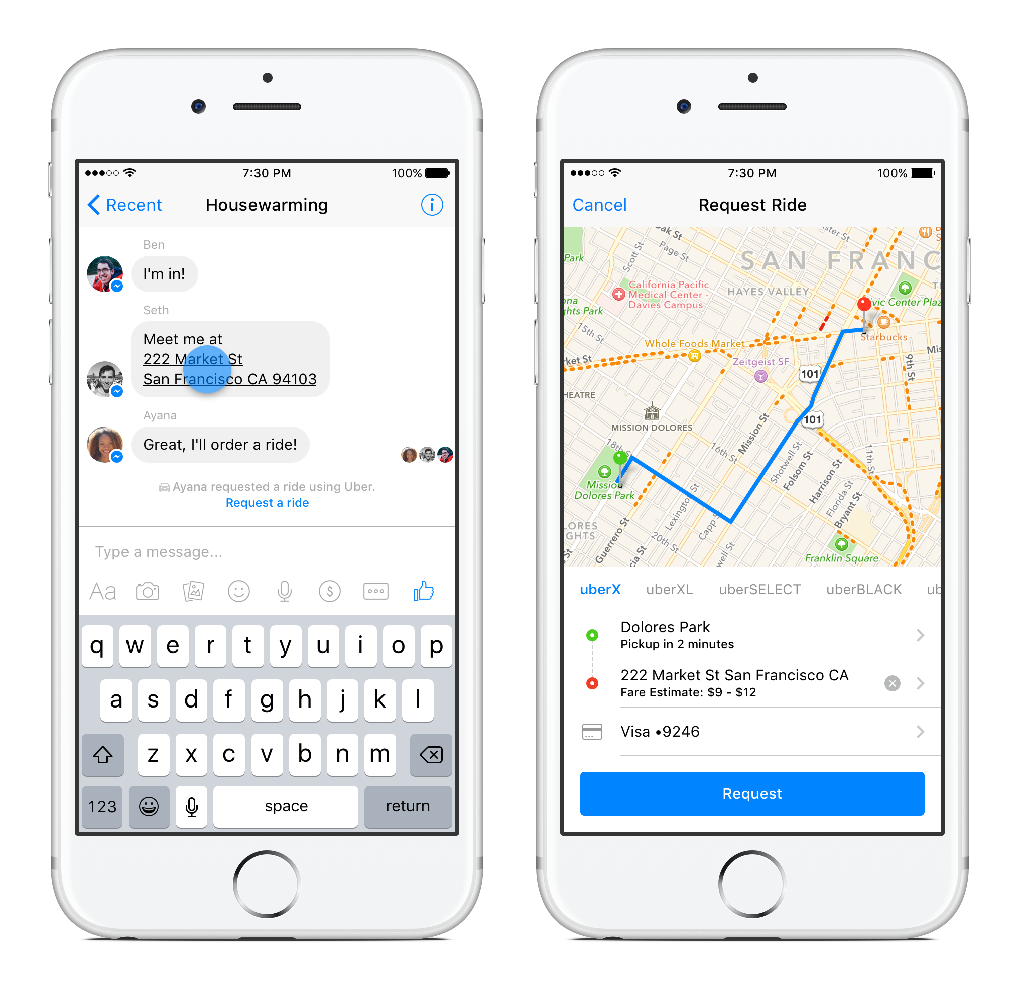 Facebook users can now summon an Uber using an address shared in Messenger.