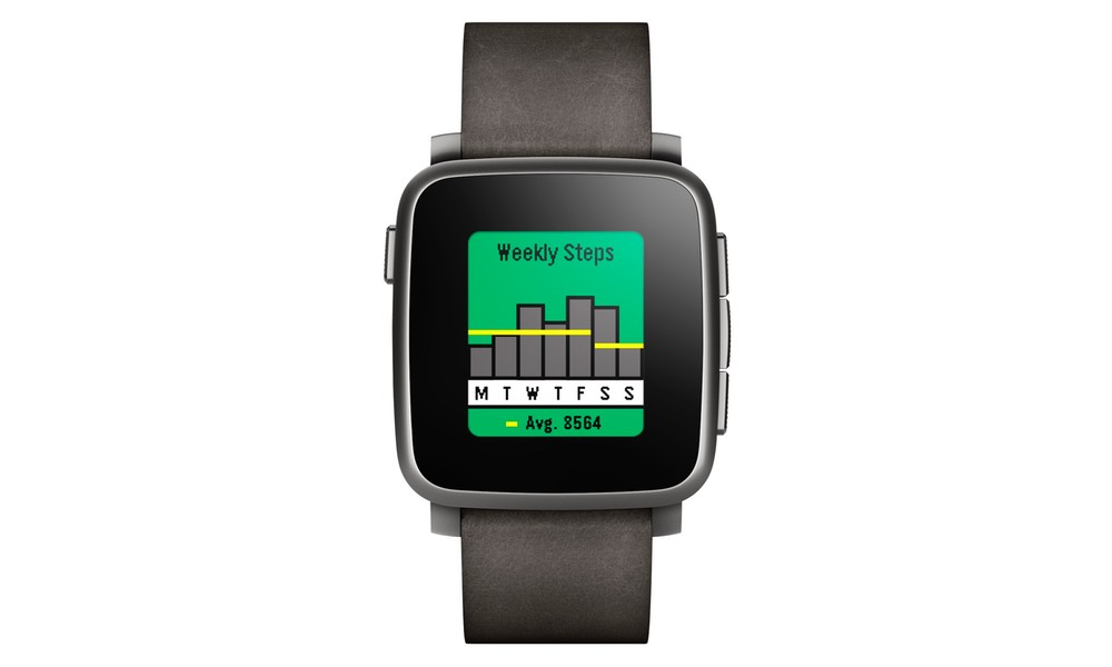 The Pebble Health app on the Pebble Time Steel smartwatch will count your steps and tell you when it's bedtime.