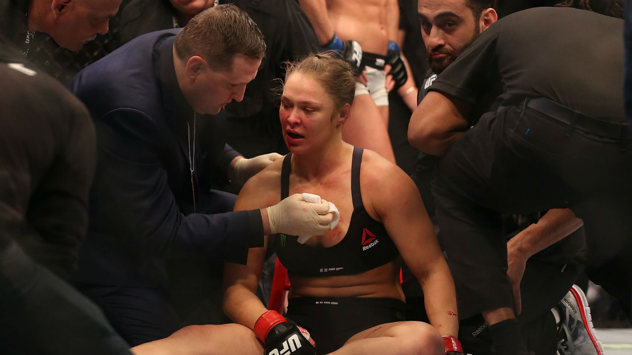 Ronda Rousey sits in her corner between rounds at UFC 193 against Holly Holm in Melbourne, Australia