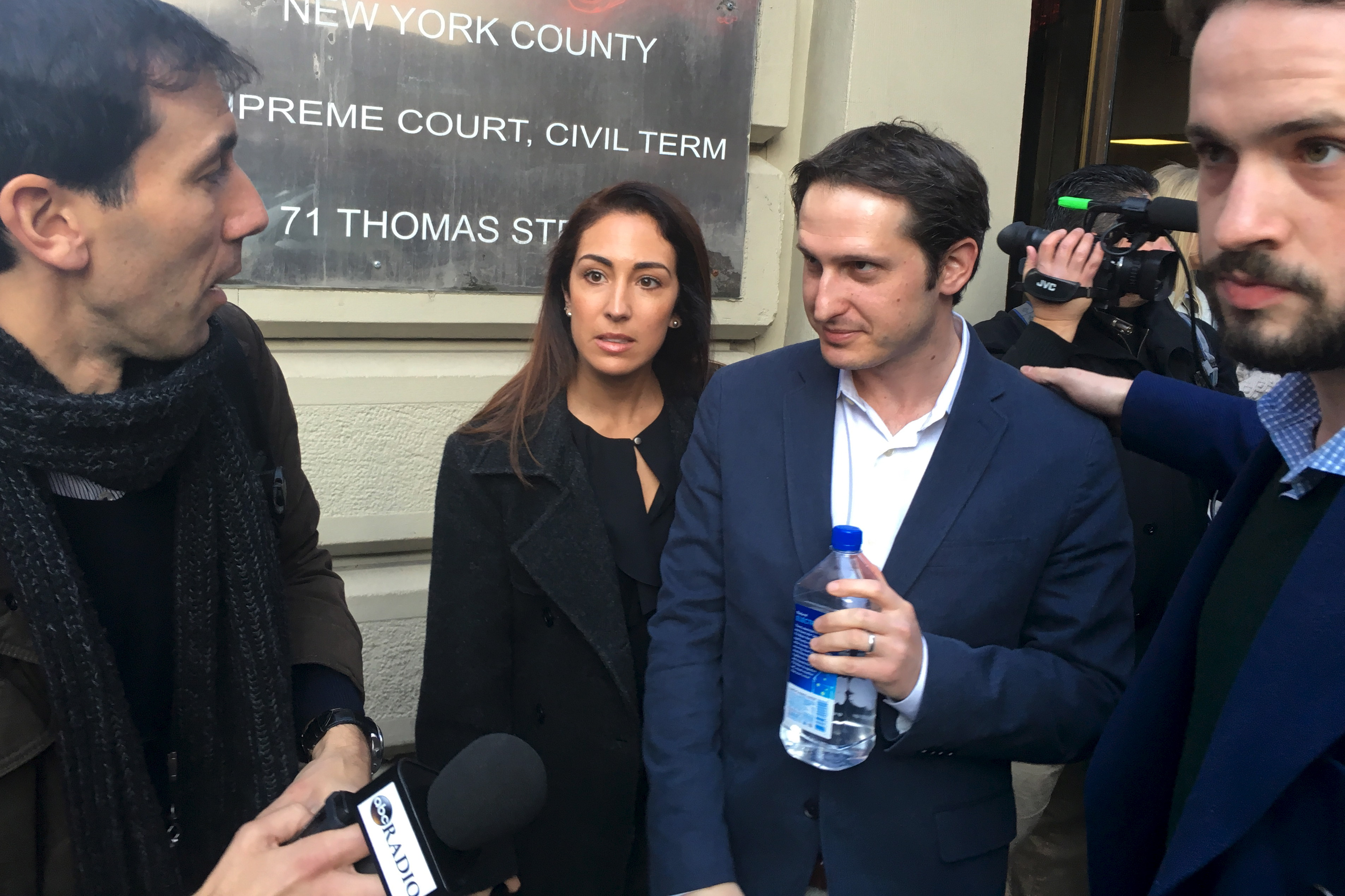 DraftKings Chief Executive Officer Jason Robins walks out of court following a hearing in the Manhattan borough of New York