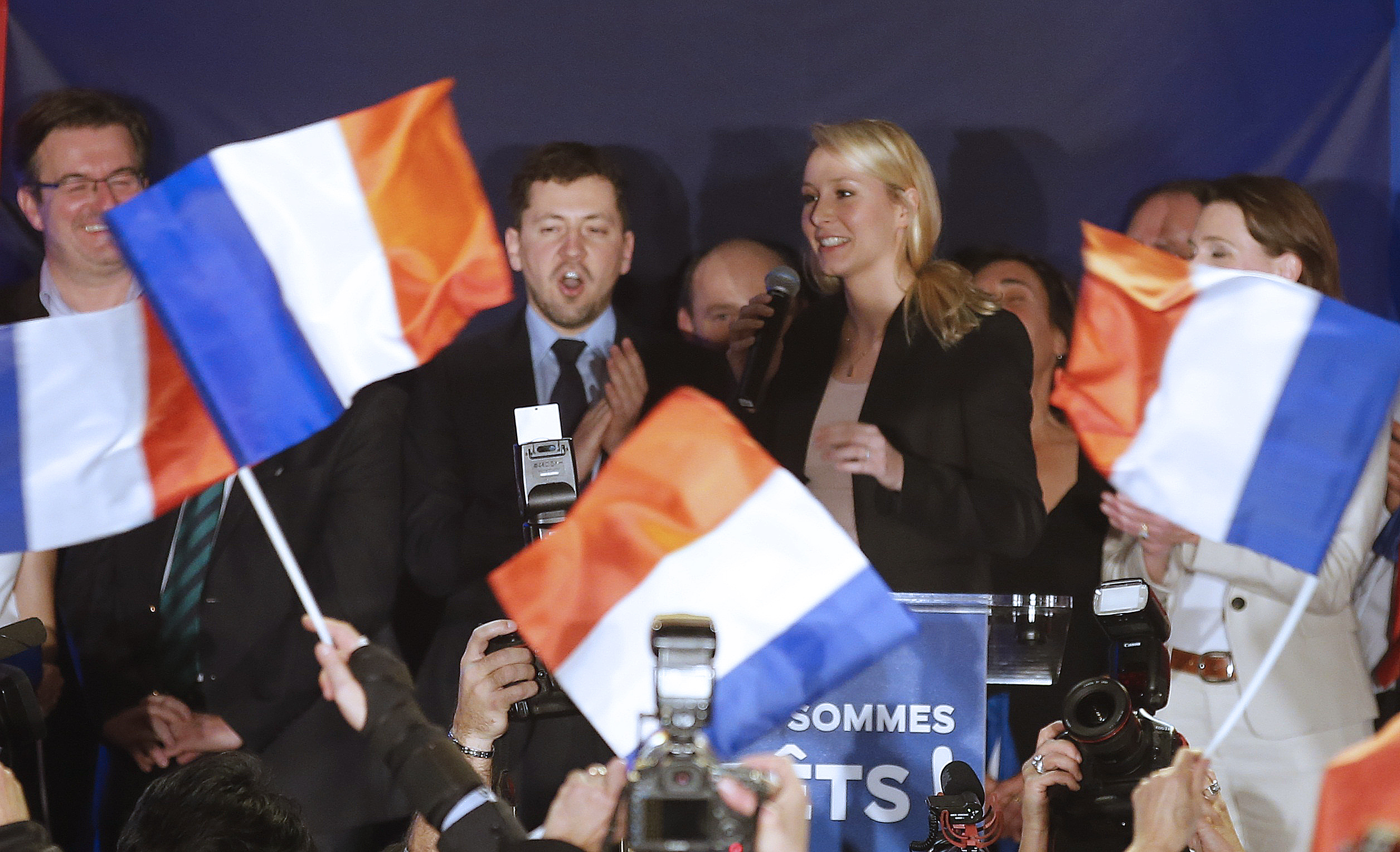 Marion Marechal-Le Pen, French National Front political party member and candidate for National Front in the PACA region arrives to deliver her speech in Le Pontet