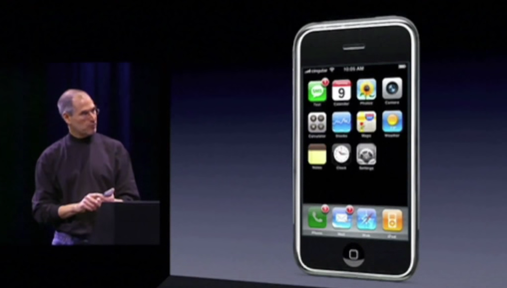 2007: Steve Jobs unveils the iPhone.