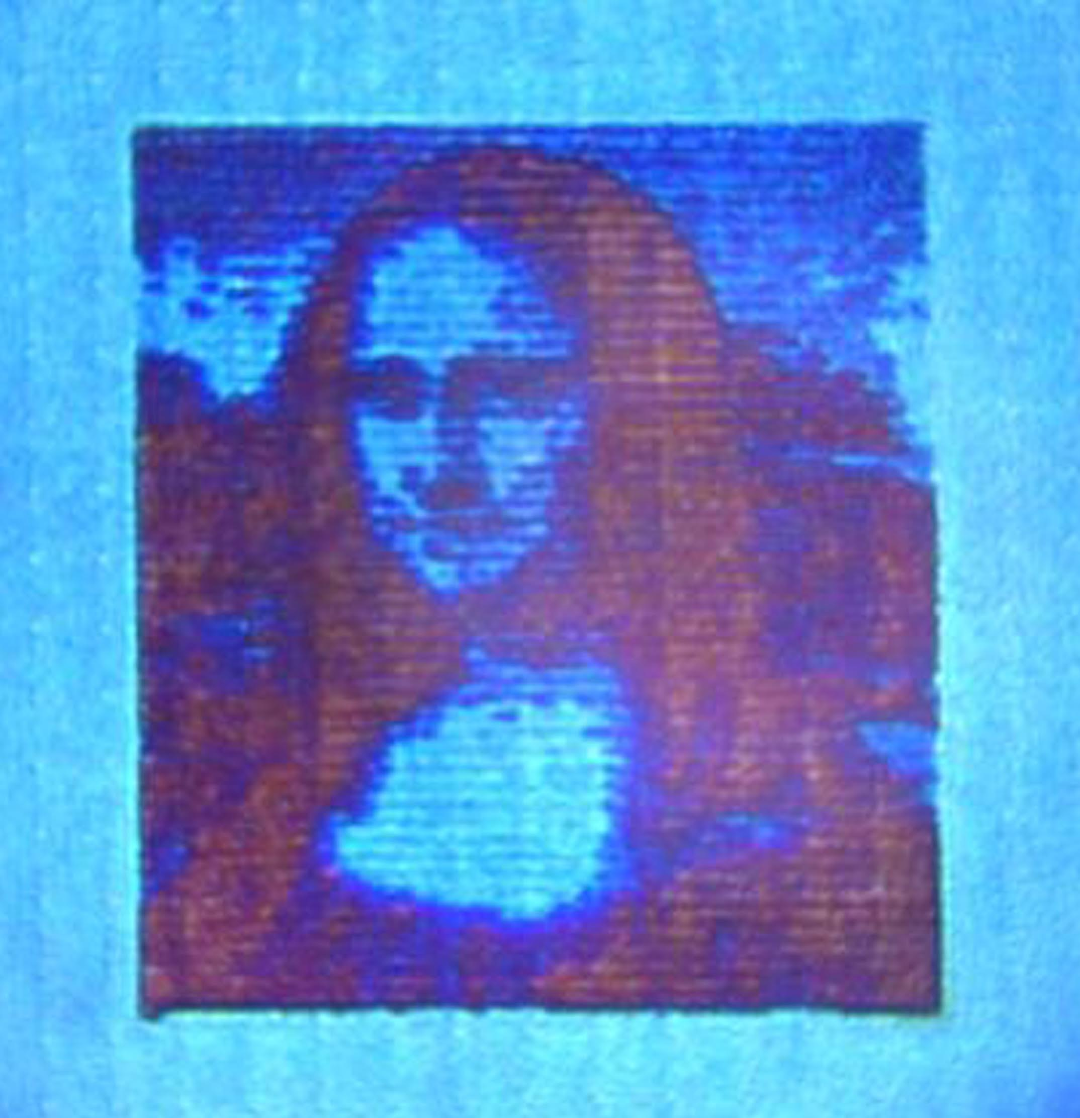 This nanoprinted Mona Lisa, created with a new technique that uses laser heat and aluminum, is about 10,000 times smaller than the original.