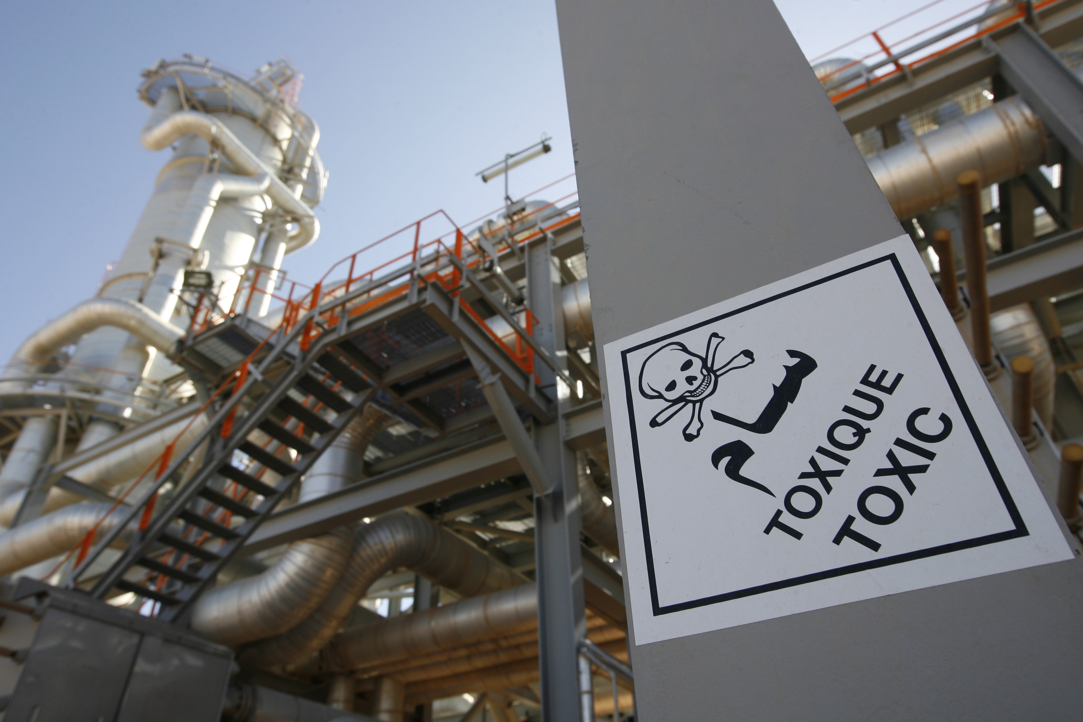 A sign warns employees of toxic elements at the In Salah Gas