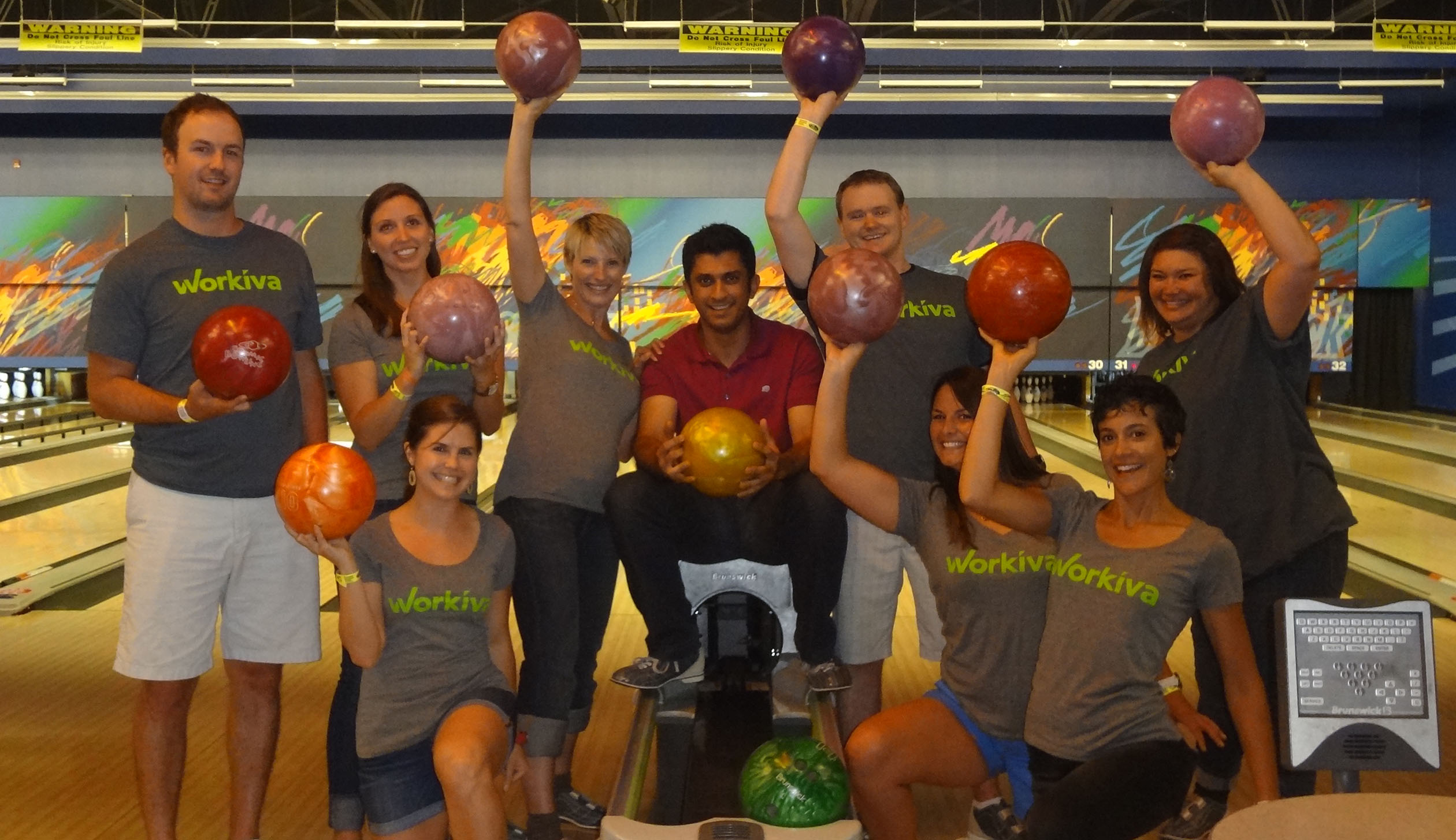 Workiva team bowling outing of Denver office, July 2014.