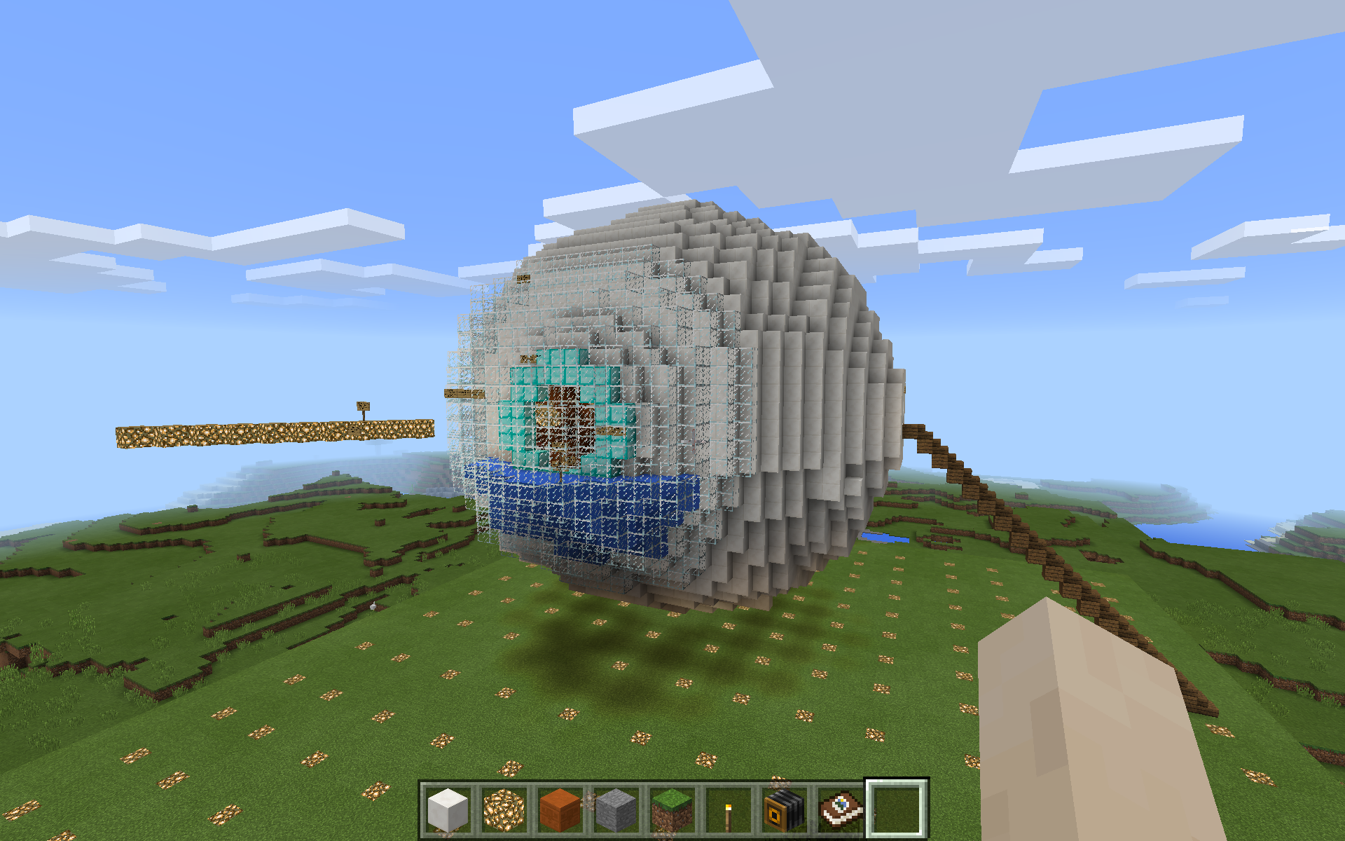 This is an exterior view of the human eye, which becomes a teaching tool through Minecraft: Education Edition.
