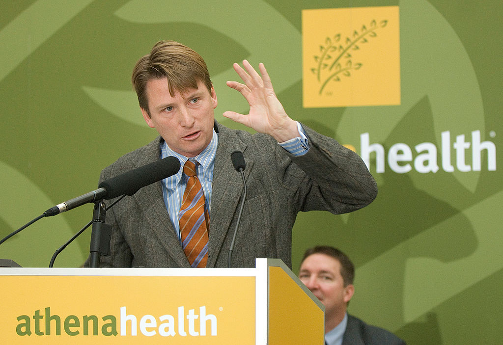 Jonathan Bush, CEO of athenahealth, speaks at a press conference in Belfast announcing athenahealth'
