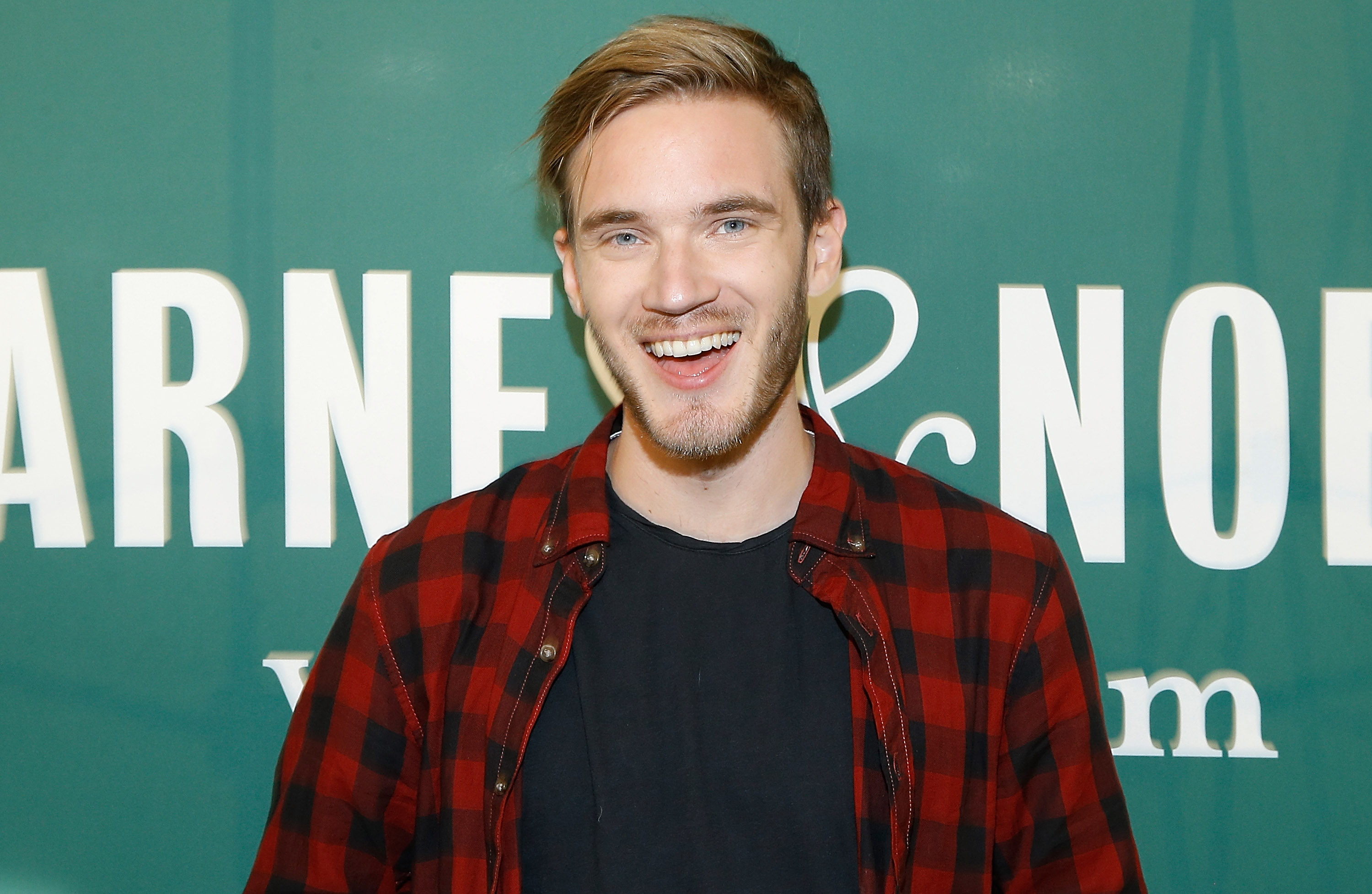 "PewDiePie signs copies of his new book ""This Book Loves You"" at Barnes & Noble Union Square on October 29, 2015 in New York City. *** Local Caption *** PewDiePie"