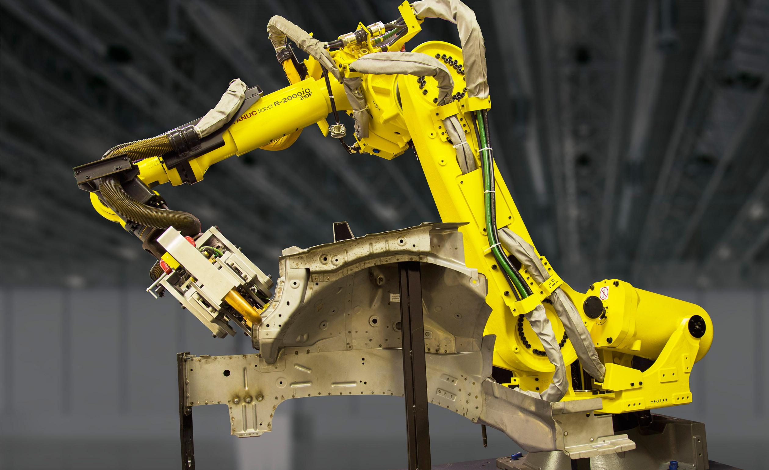 Fanuc's R-2000iC-210F-LVC automotive spot-welding robot.