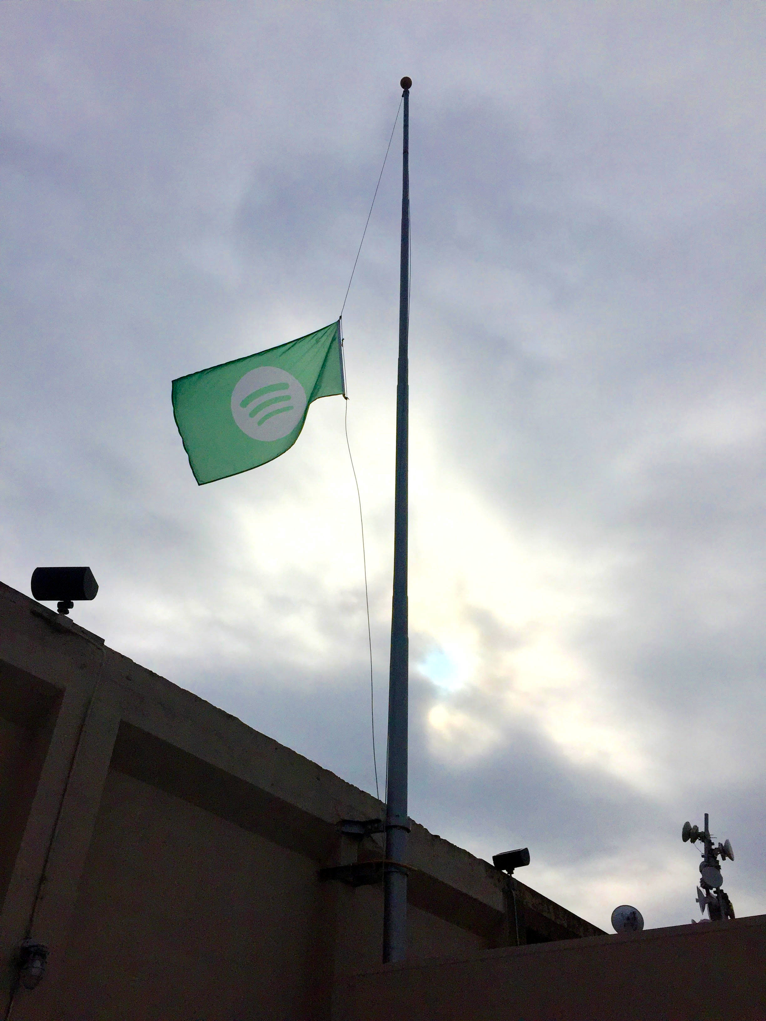 Spotify's flag at the company's U.S. headquarters in San Francisco