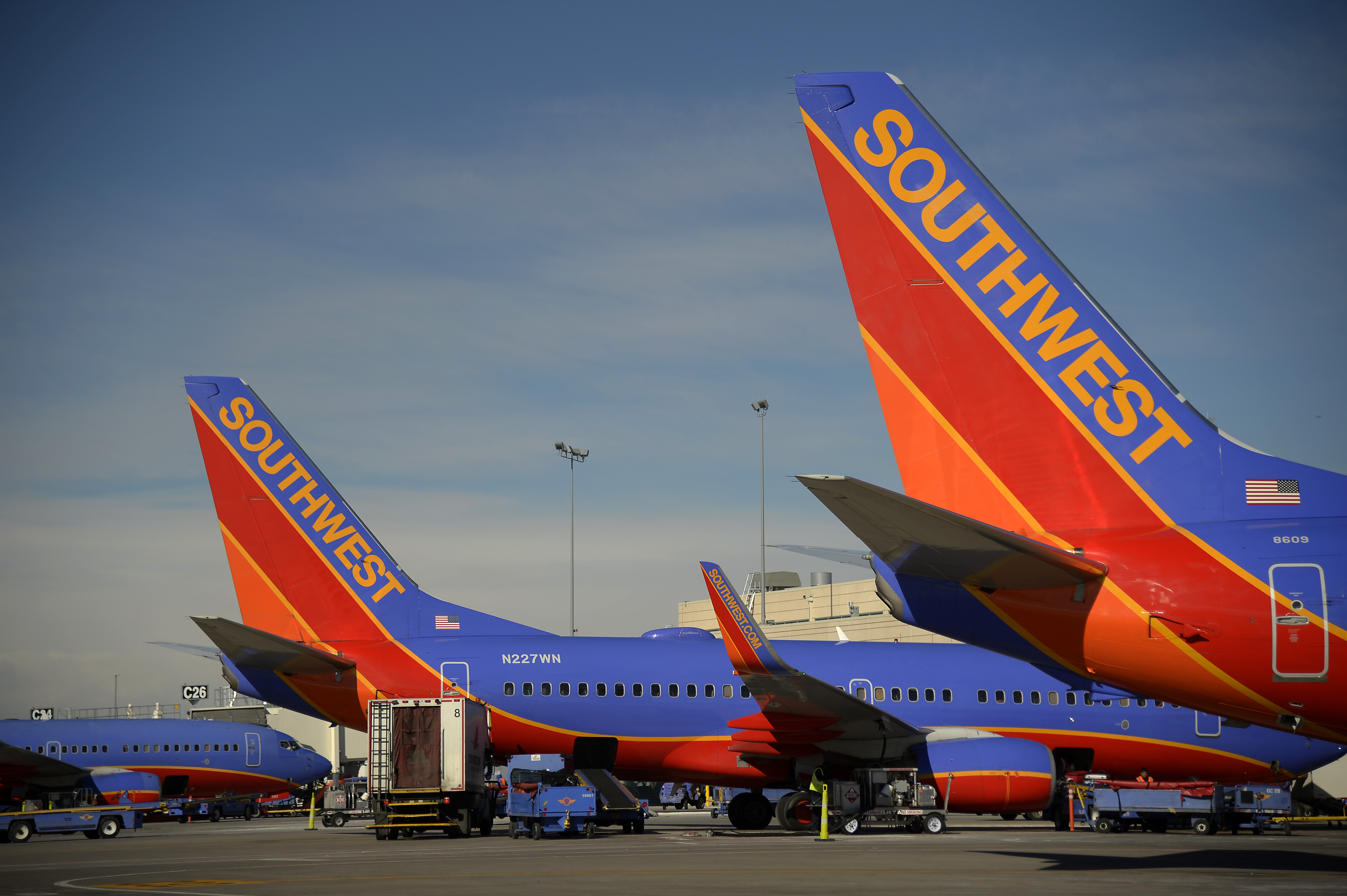 "Southwest Airlines aircraft at Concourse ""C"" at the Denver International Airport."