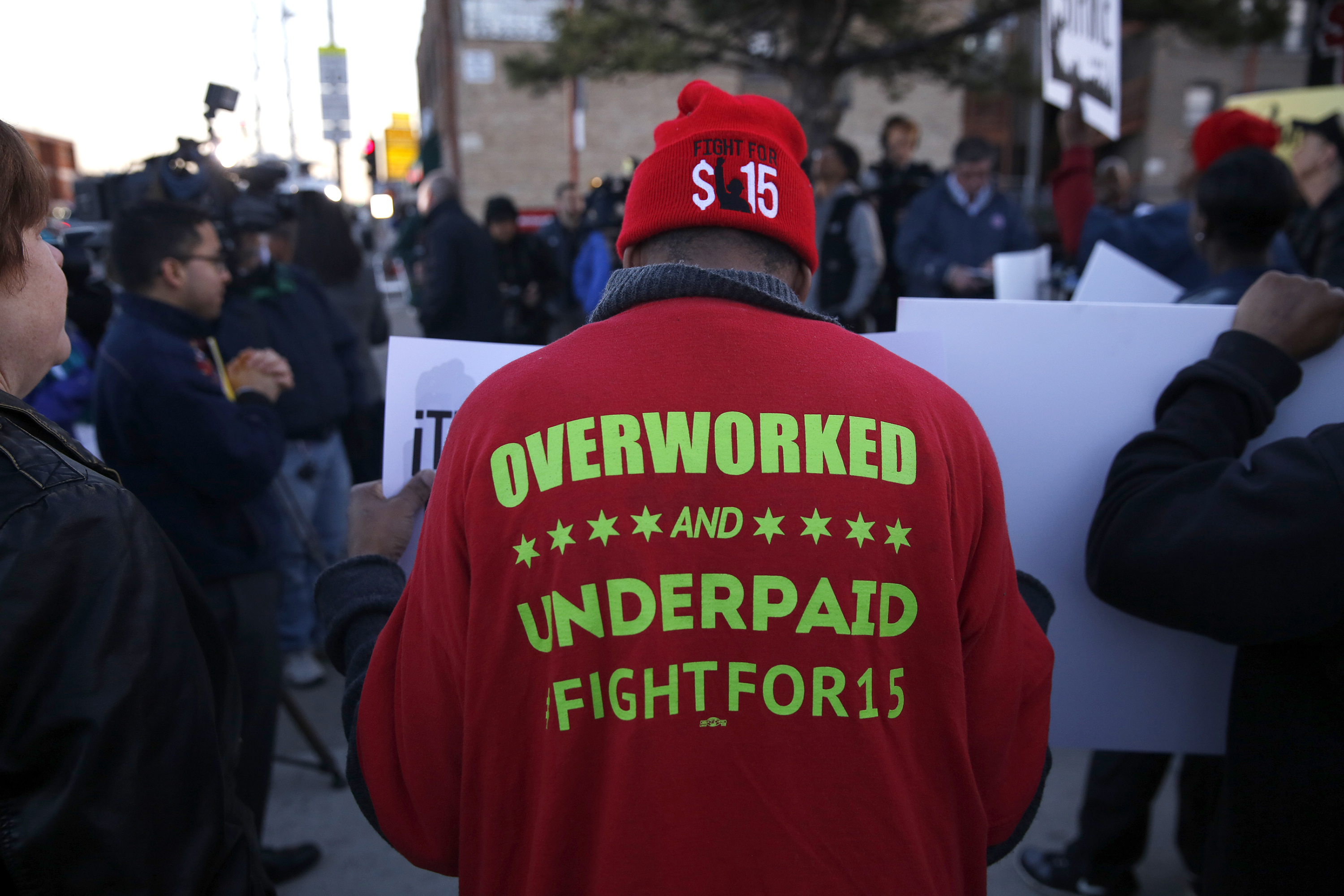 Labor groups protest Wednesday for $15 wage